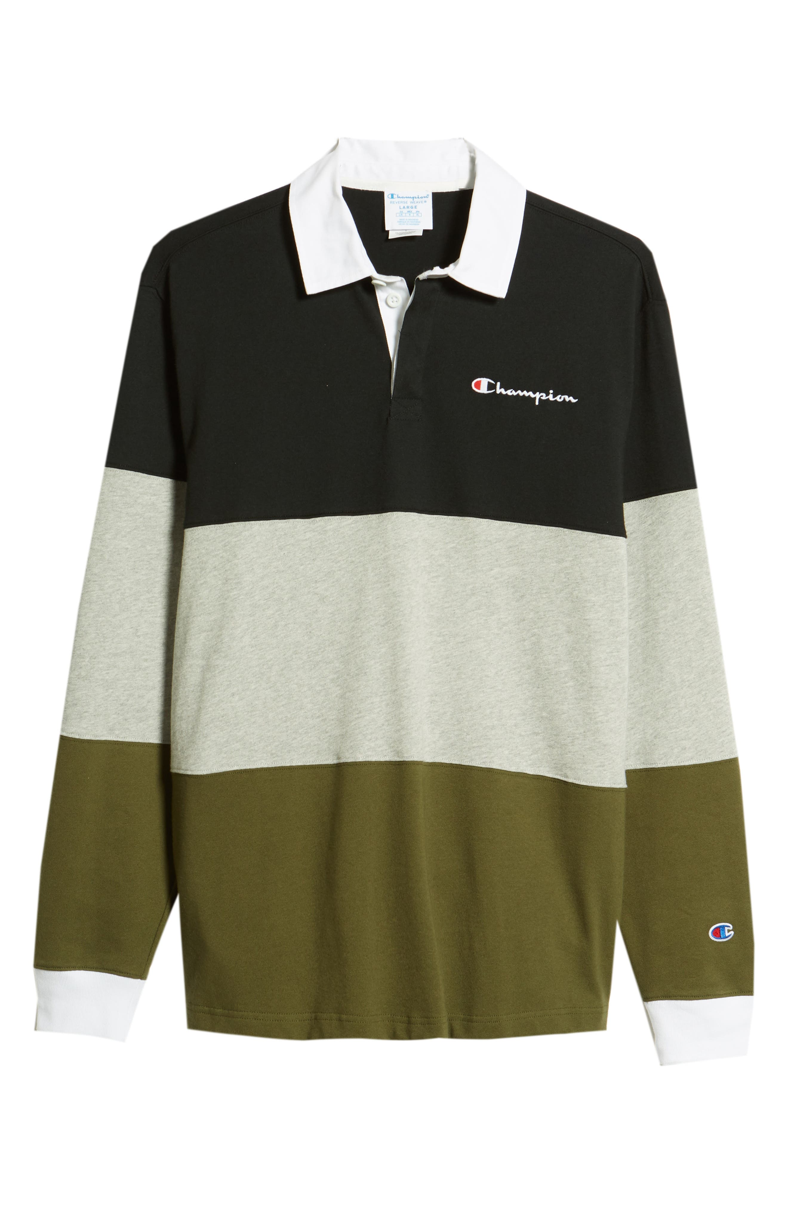 Colorblock Rugby Shirt,                             Alternate thumbnail 6, color,                             BLACK/ GREY/ HIKER GREEN