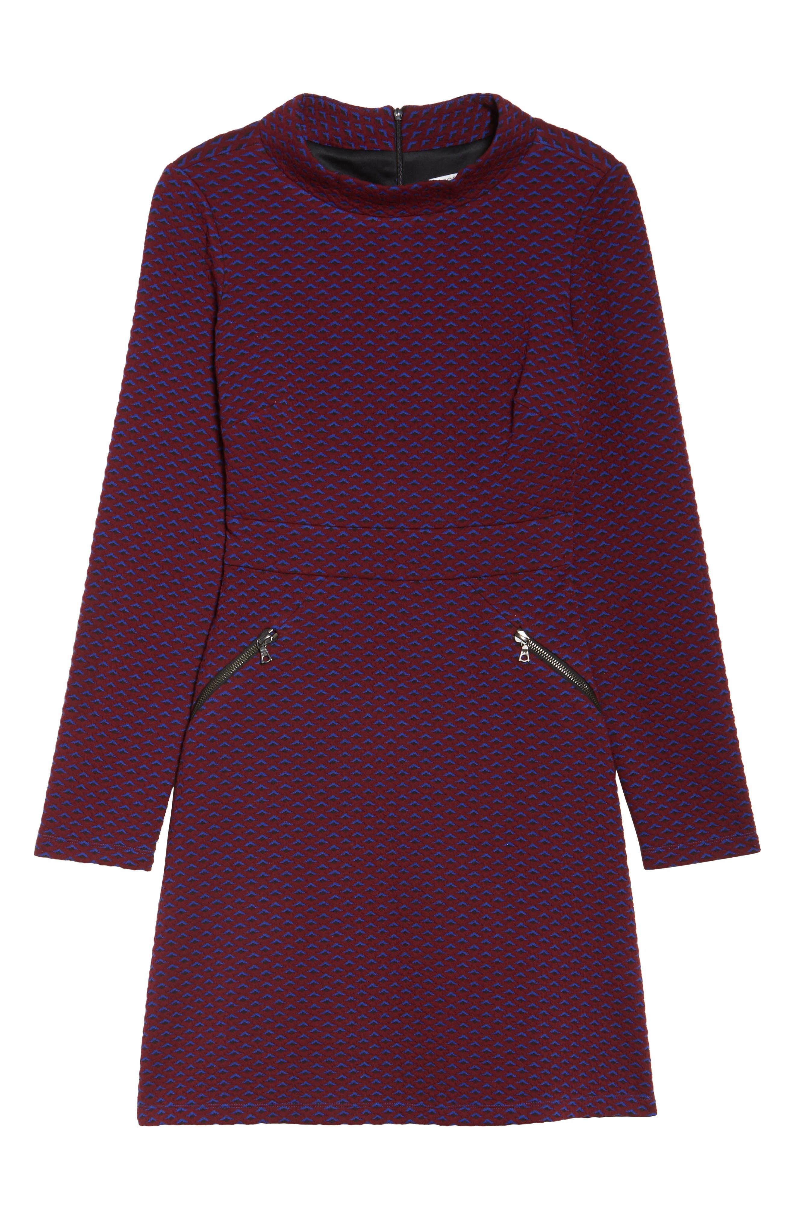 Jacquard Fit & Flare Dress,                             Alternate thumbnail 6, color,                             401