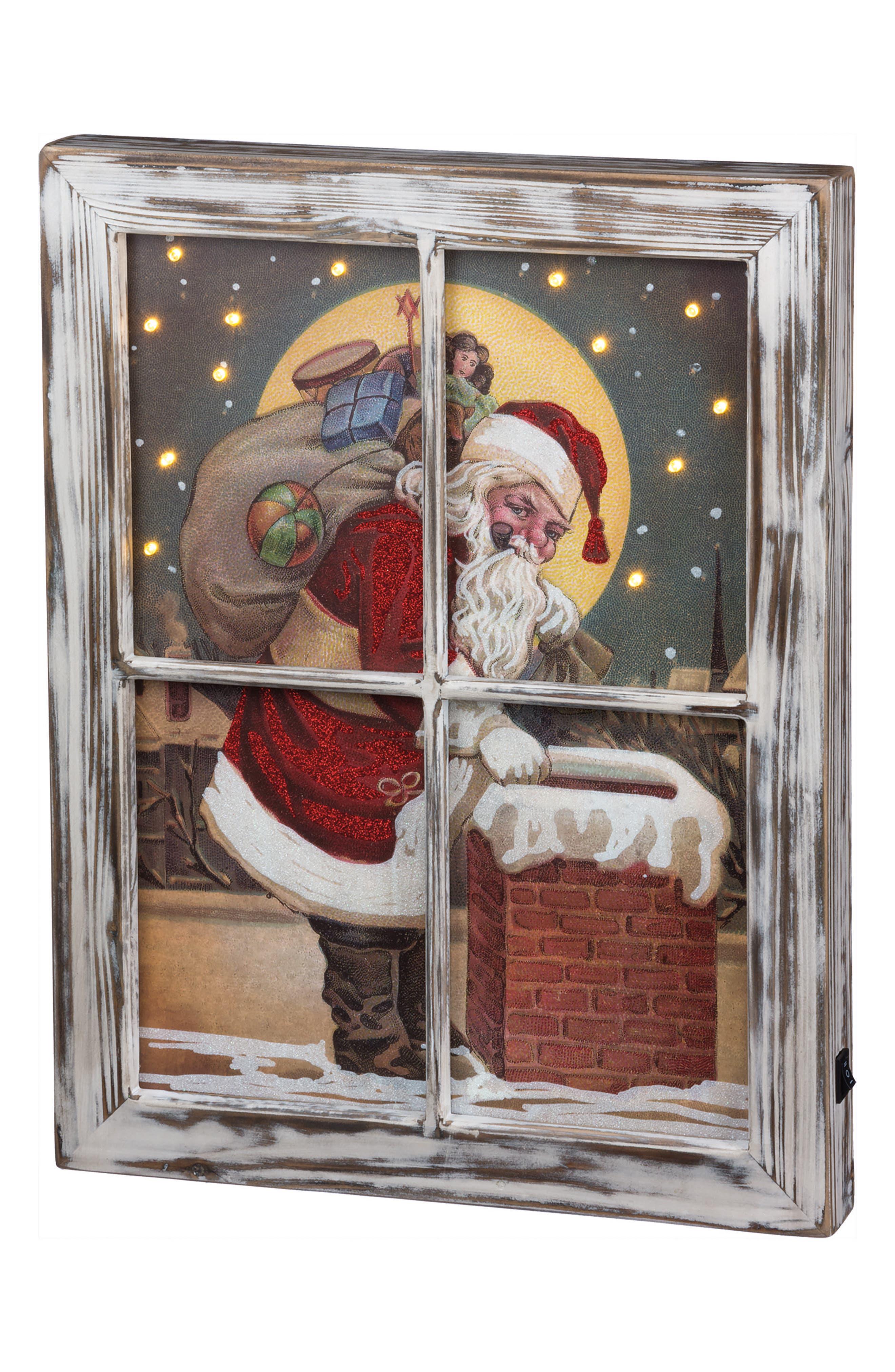 Santa Chimney LED Box Sign,                             Main thumbnail 1, color,                             RED