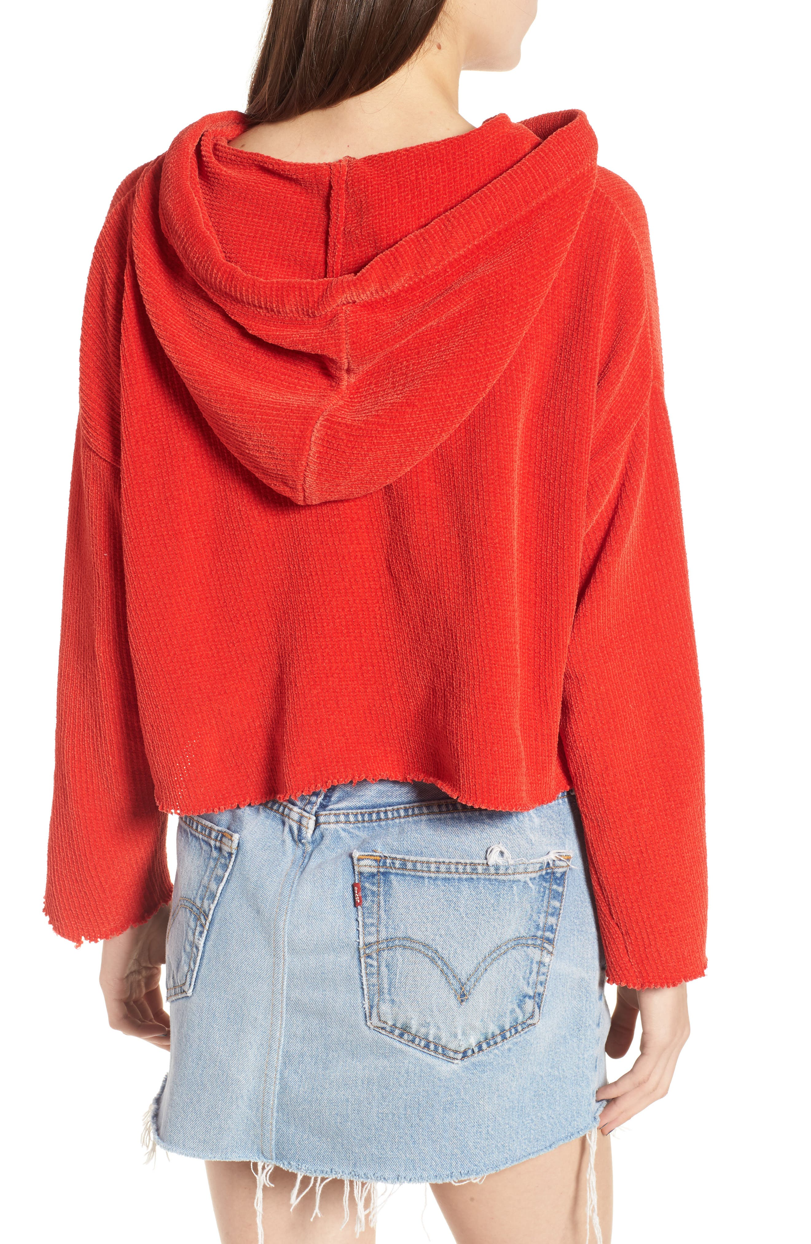 Chenille Crop Hoodie,                             Alternate thumbnail 2, color,                             950