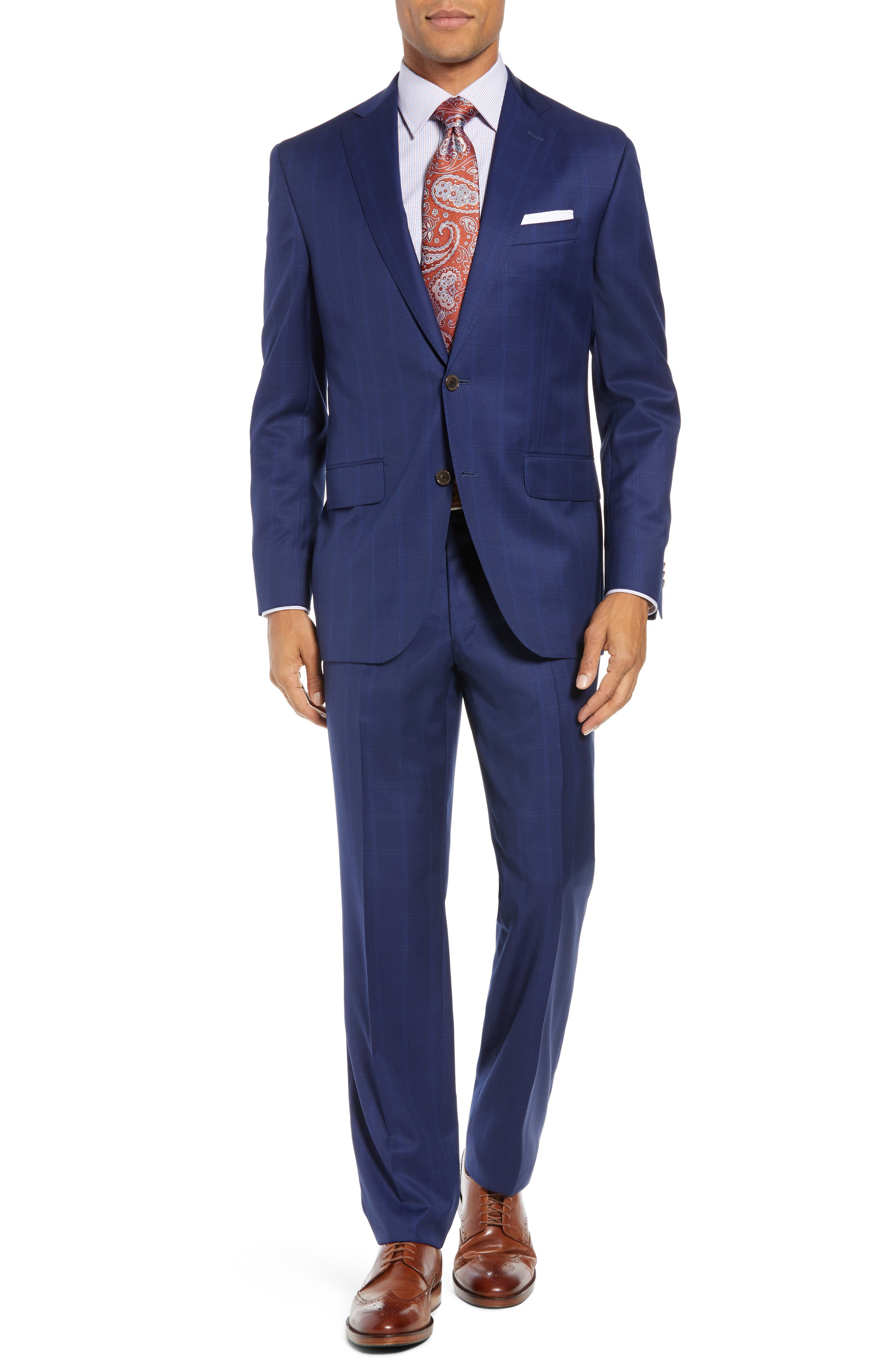 Ryan Classic Fit Windowpane Wool Suit,                         Main,                         color, BLUE