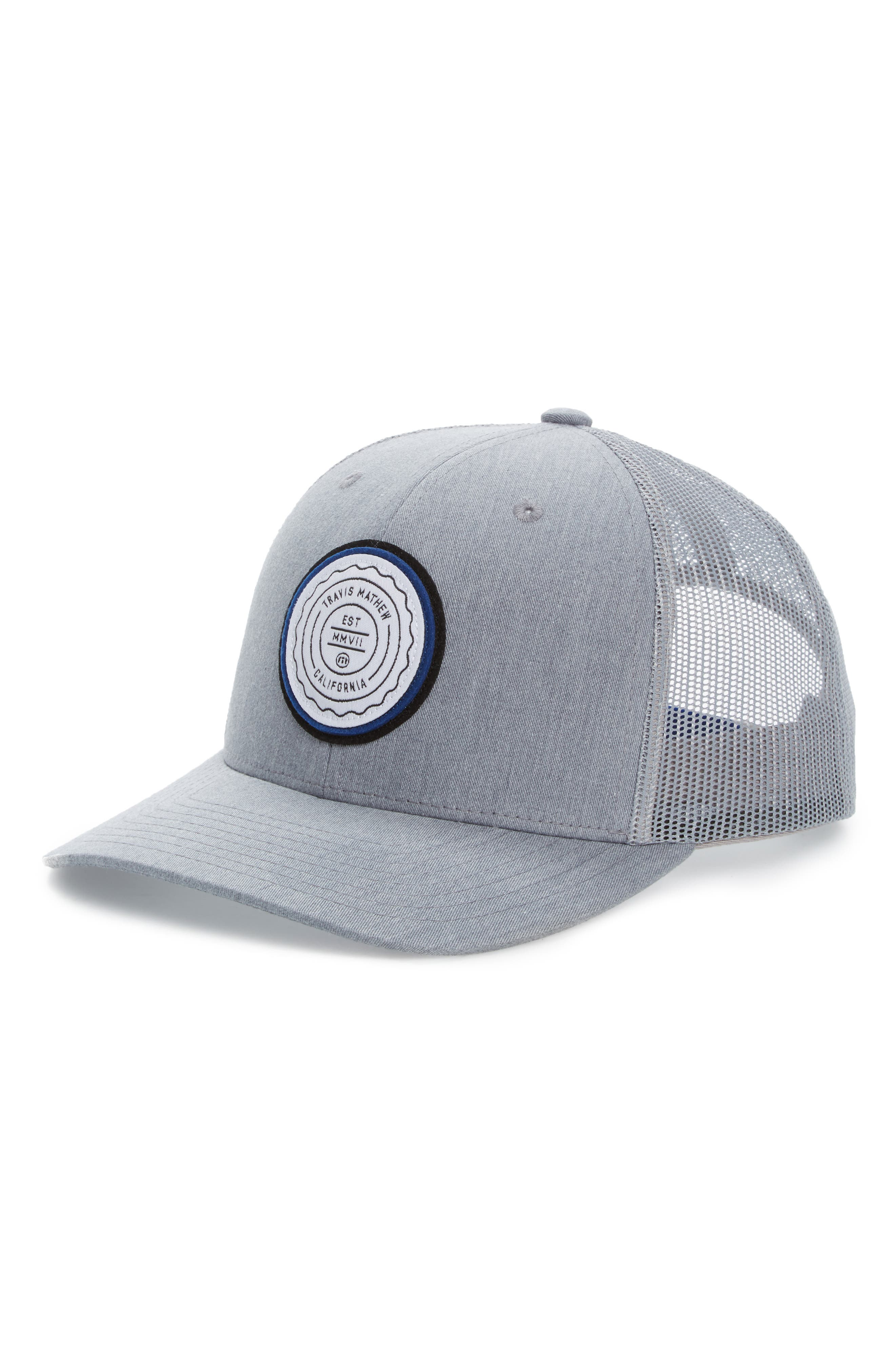'Trip L' Trucker Hat,                             Main thumbnail 1, color,                             HEATHER GREY