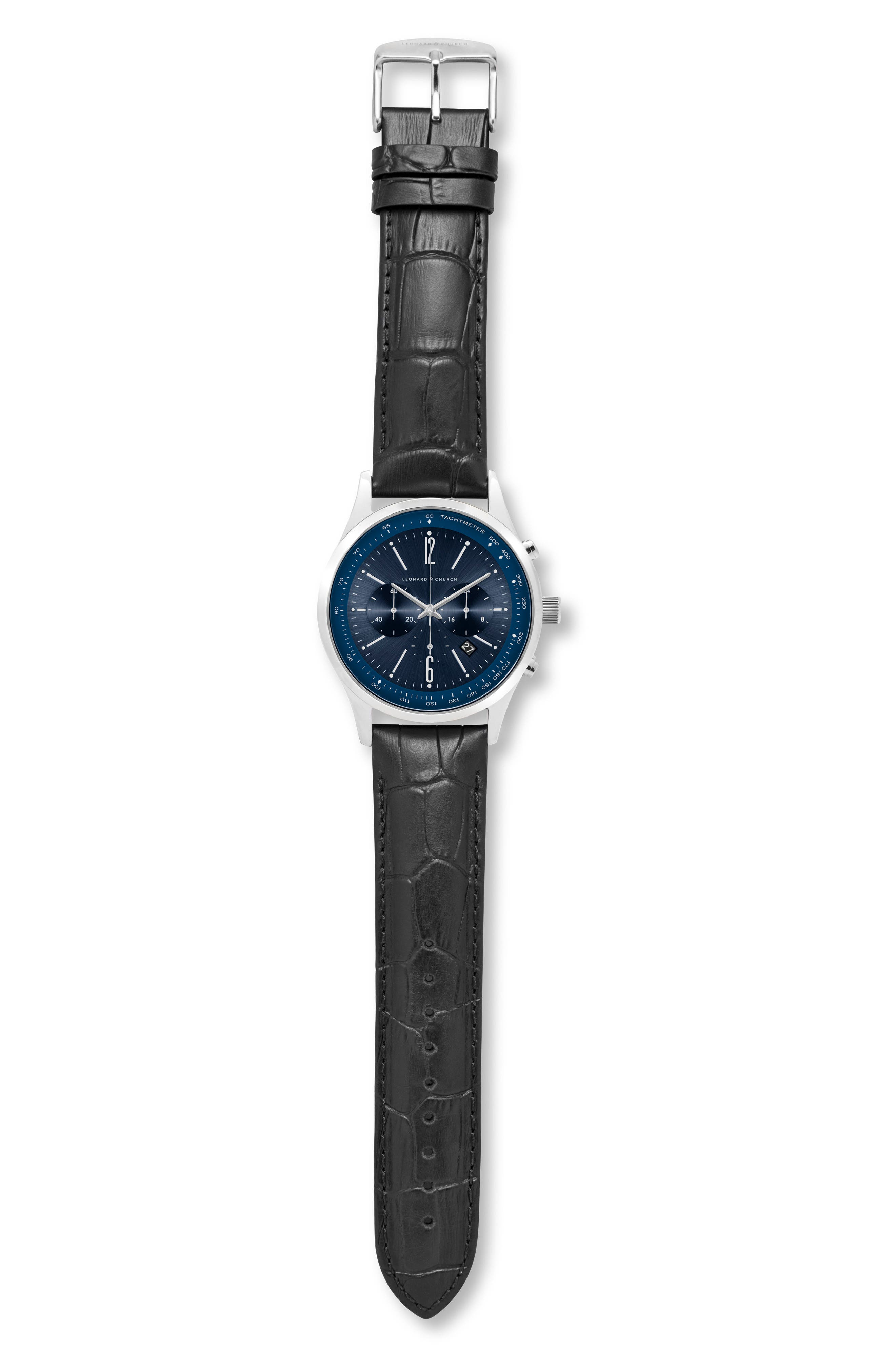 Leonard & Church Barclay Chronograph Leather Strap Watch, 43mm,                             Alternate thumbnail 8, color,                             BLACK/ BLUE/ SILVER