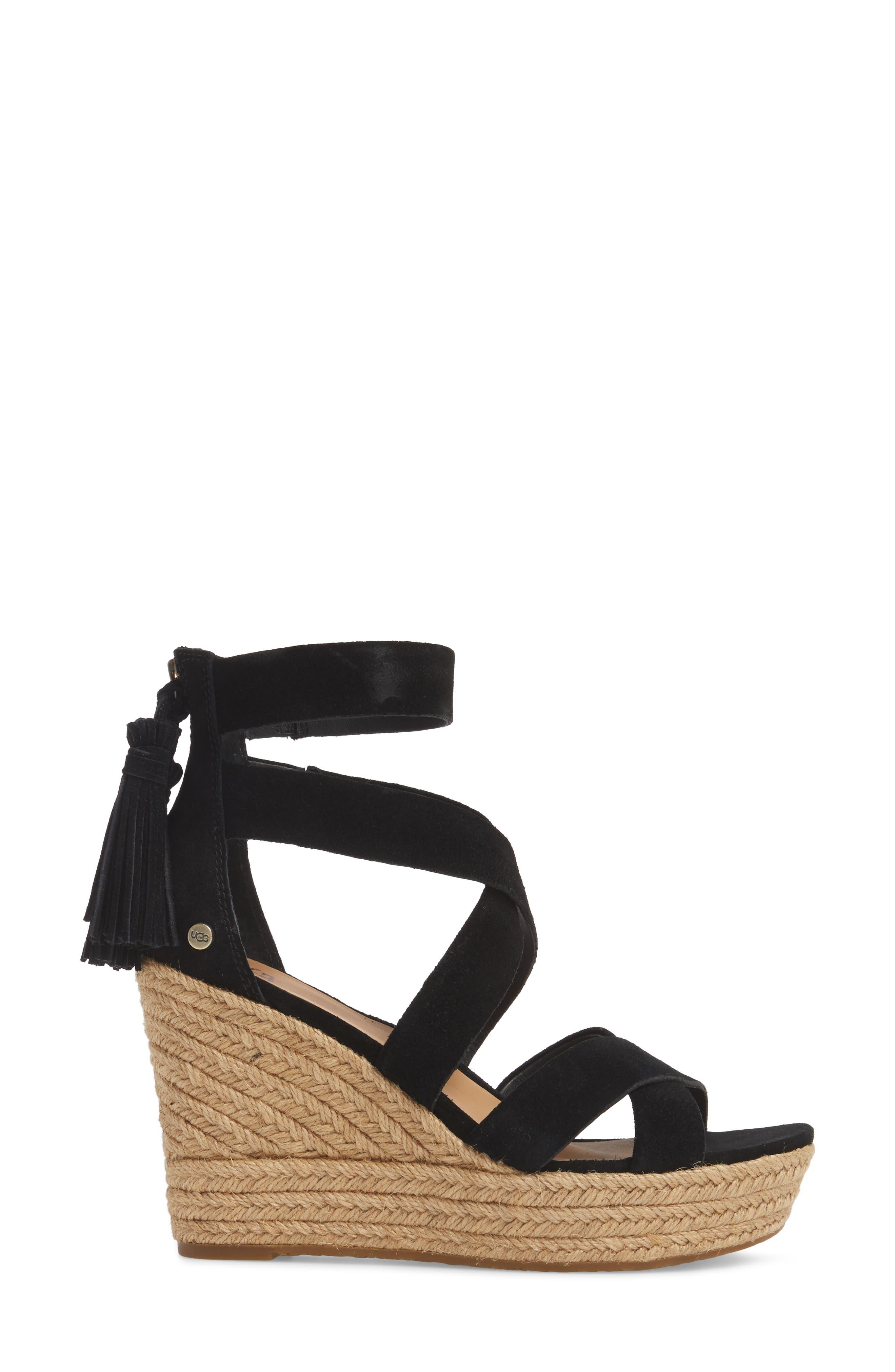 Raquel Platform Wedge Sandal,                             Alternate thumbnail 3, color,                             001