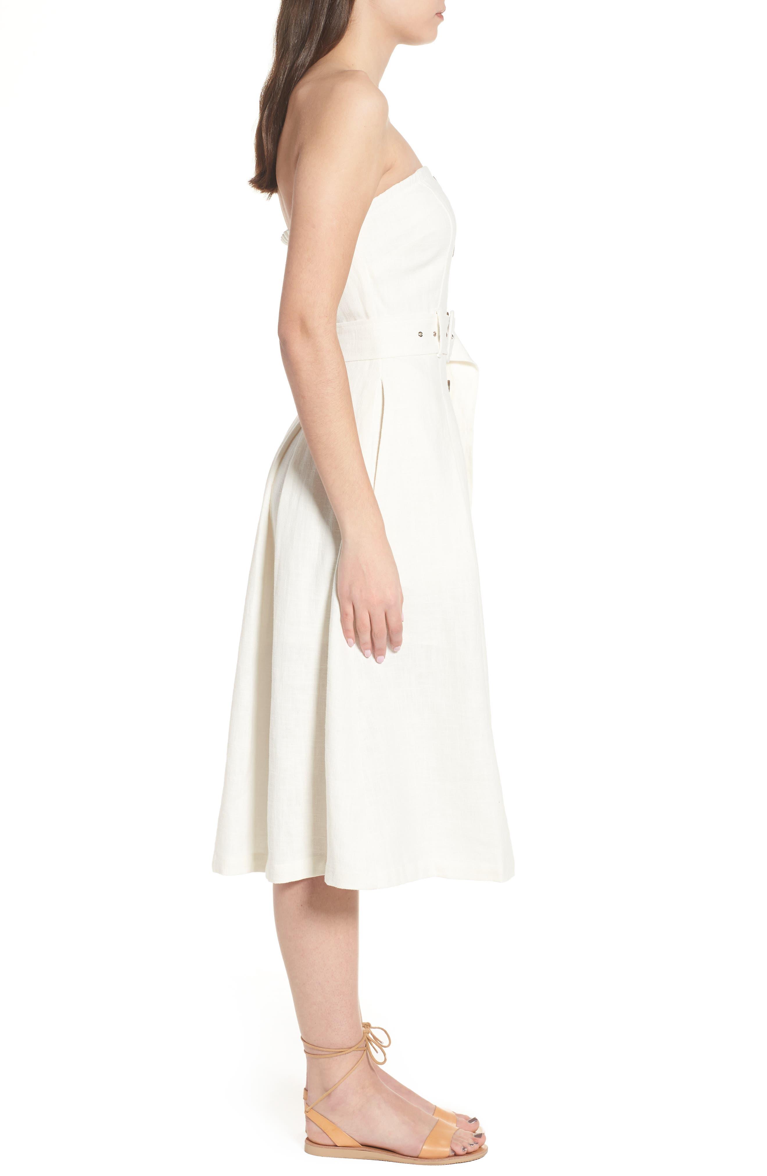 Linen & Cotton Strapless Dress,                             Alternate thumbnail 3, color,