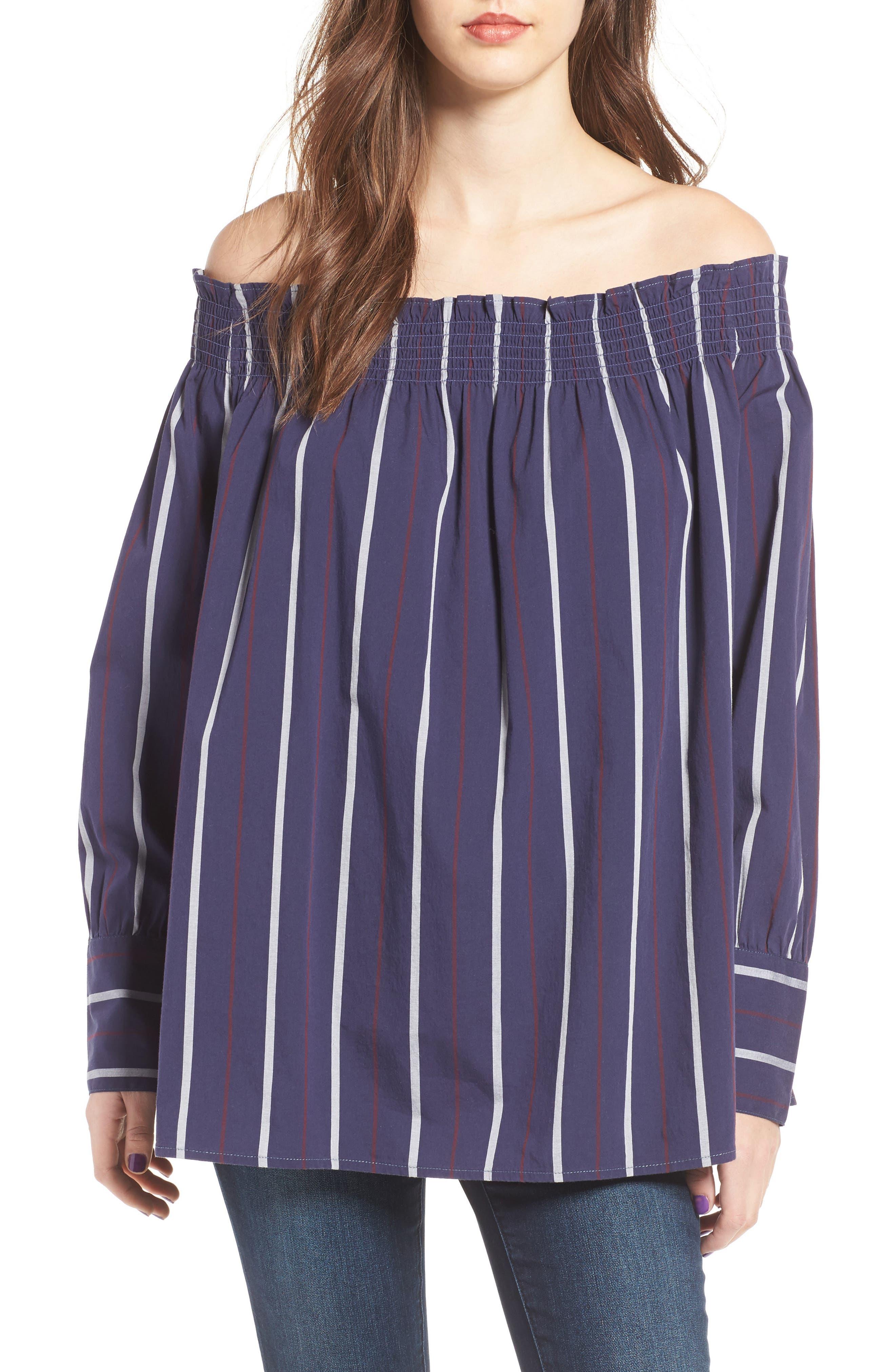 Stripe Off the Shoulder Top,                         Main,                         color, 410