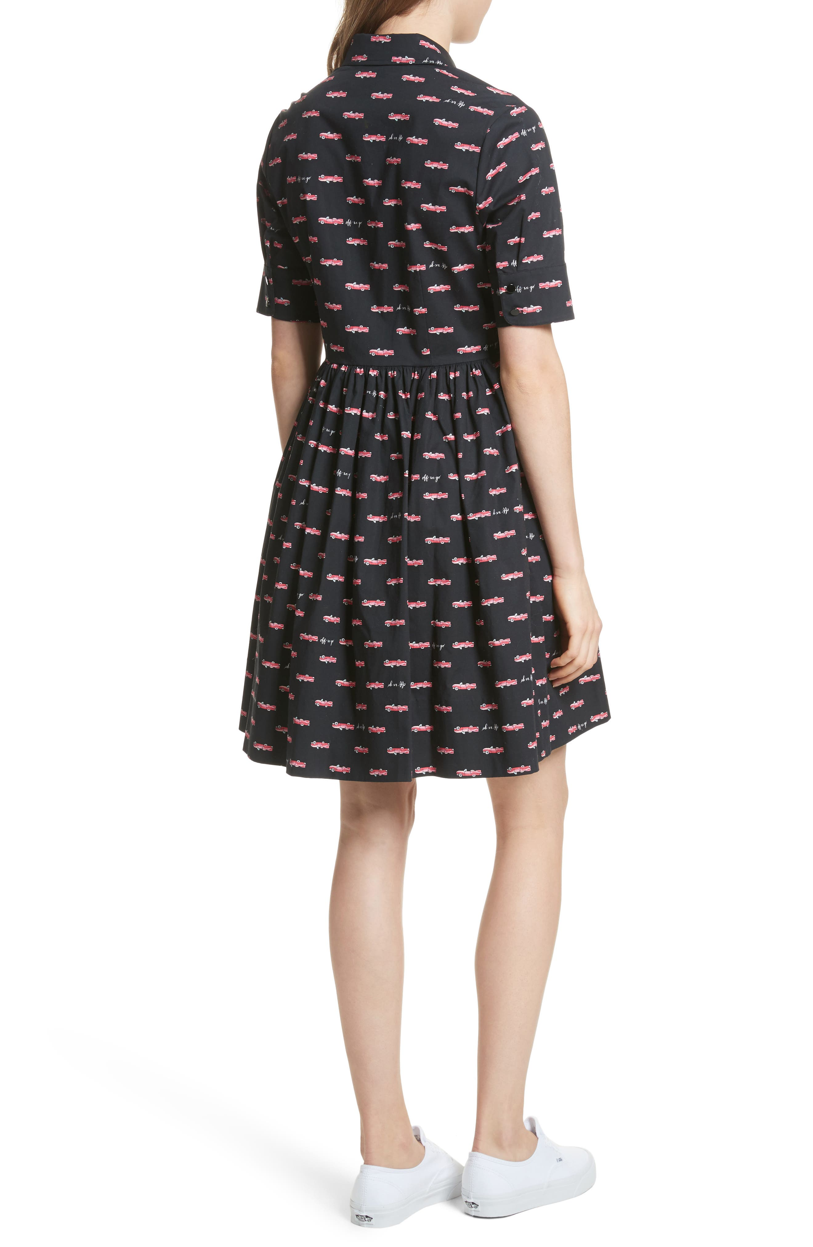 kate spade hot rod poplin fit & flare dress,                             Alternate thumbnail 2, color,