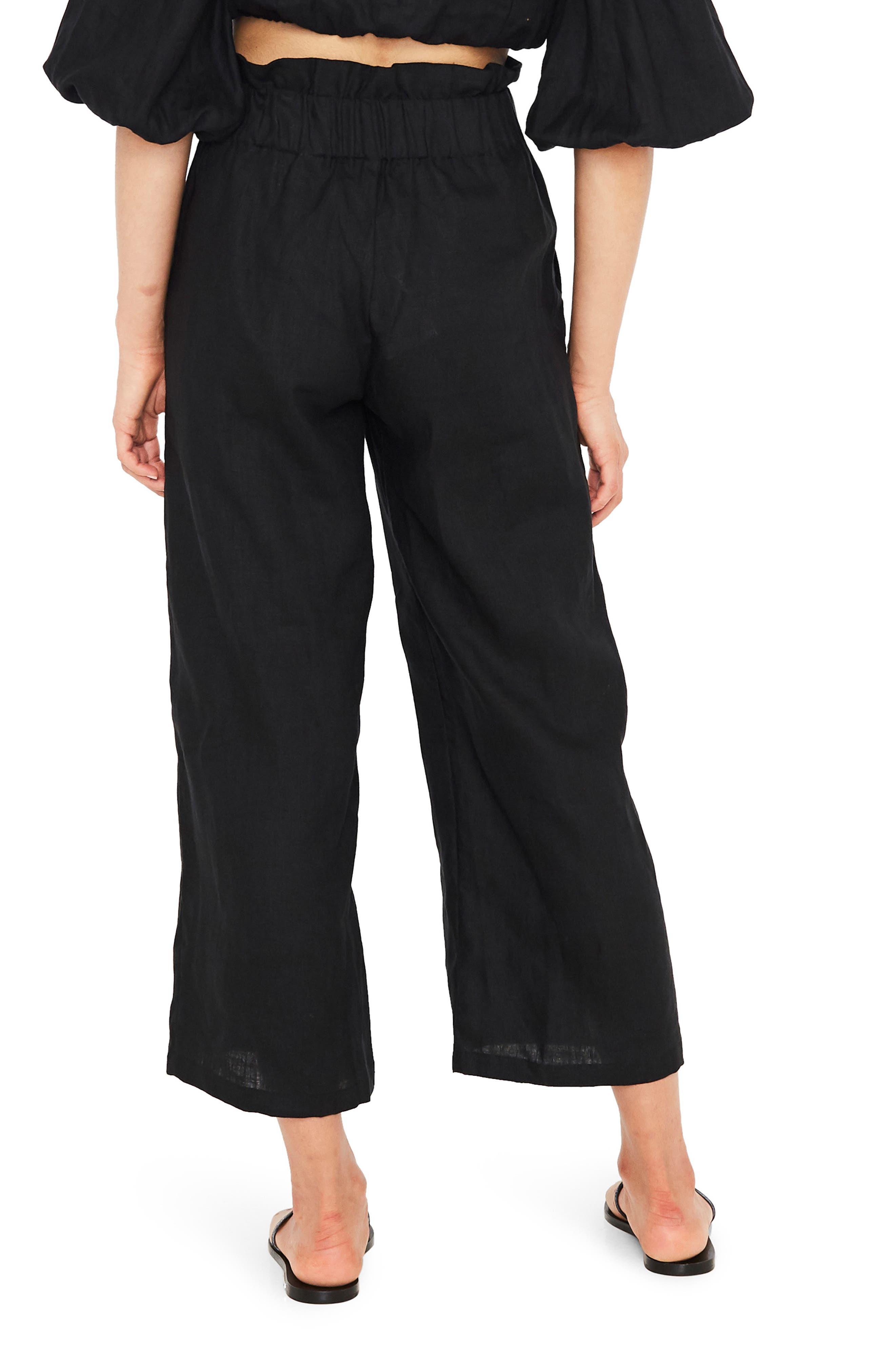 Varadero High Waist Linen Pants,                             Alternate thumbnail 2, color,                             001
