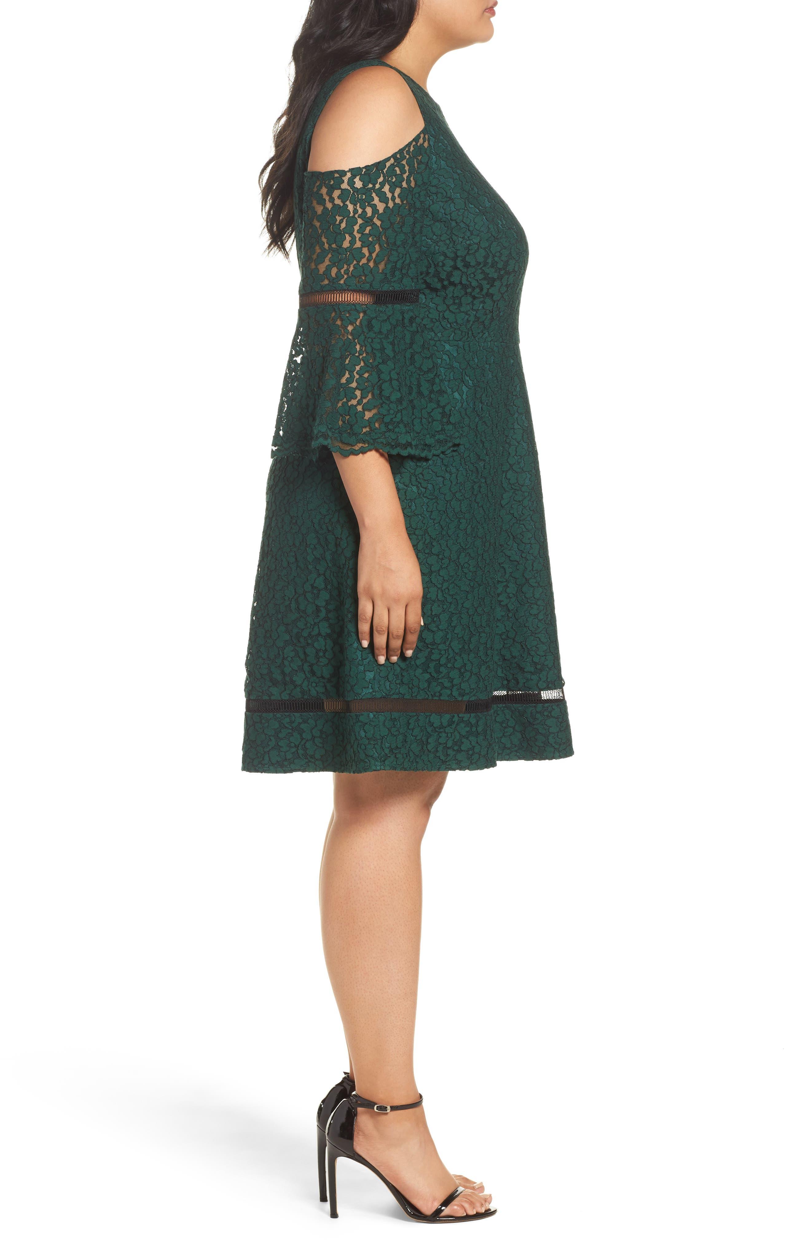 Cold Shoulder Lace Dress,                             Alternate thumbnail 3, color,                             310