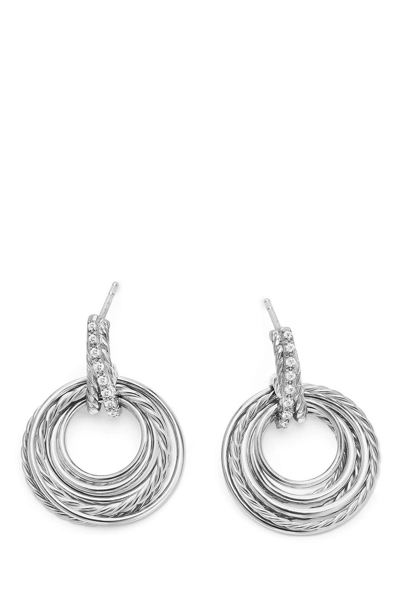Crossover Drop Earrings with Diamonds,                             Alternate thumbnail 2, color,                             SILVER