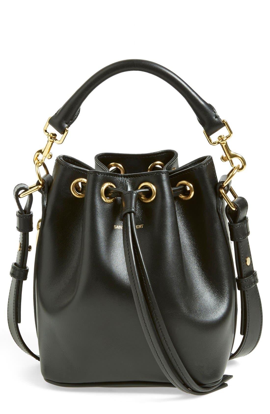 'Small' Calfskin Leather Bucket Bag,                             Main thumbnail 1, color,                             001