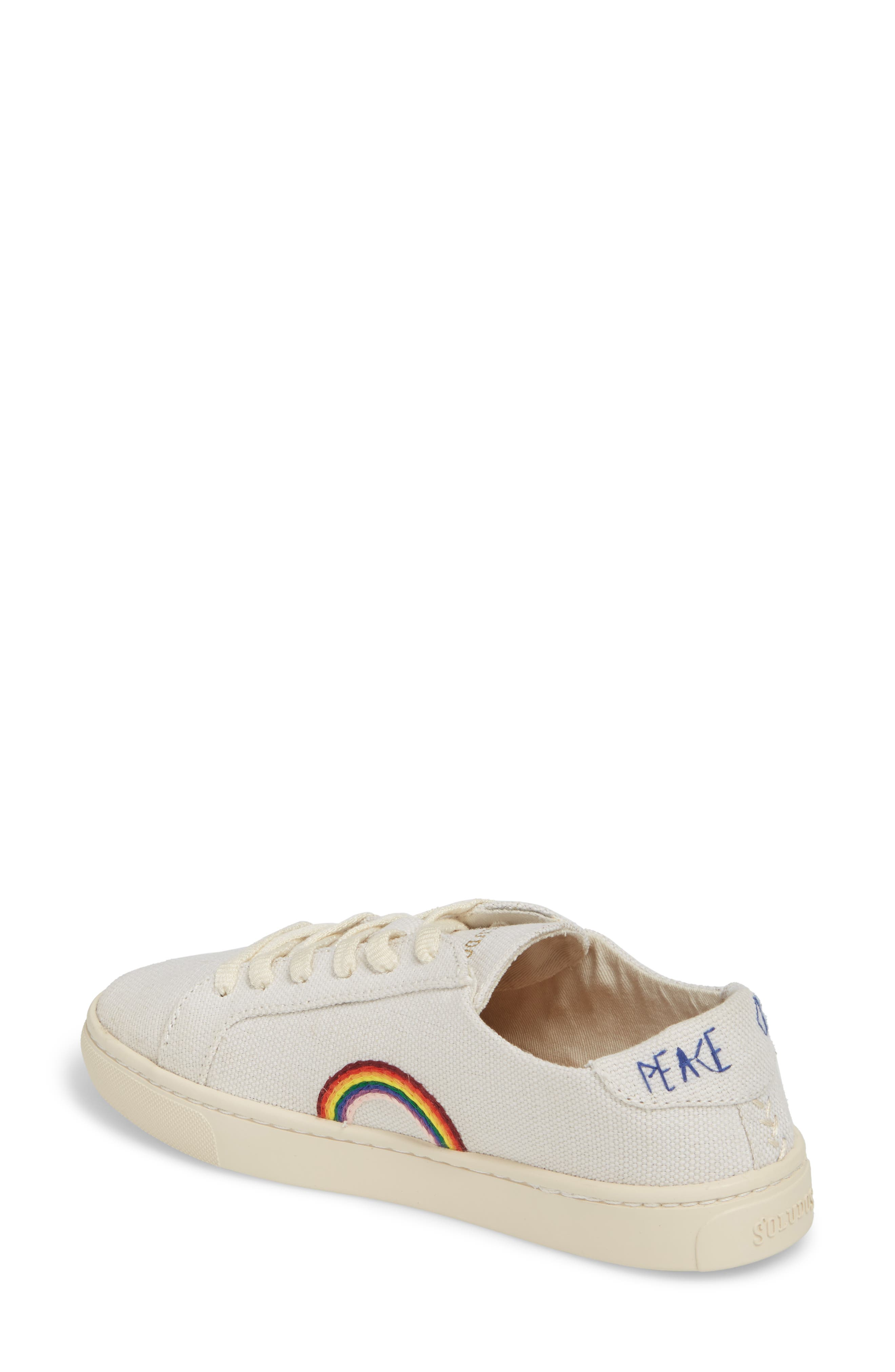 Embroidered Low Top Sneaker,                             Alternate thumbnail 3, color,                             WHITE CANVAS