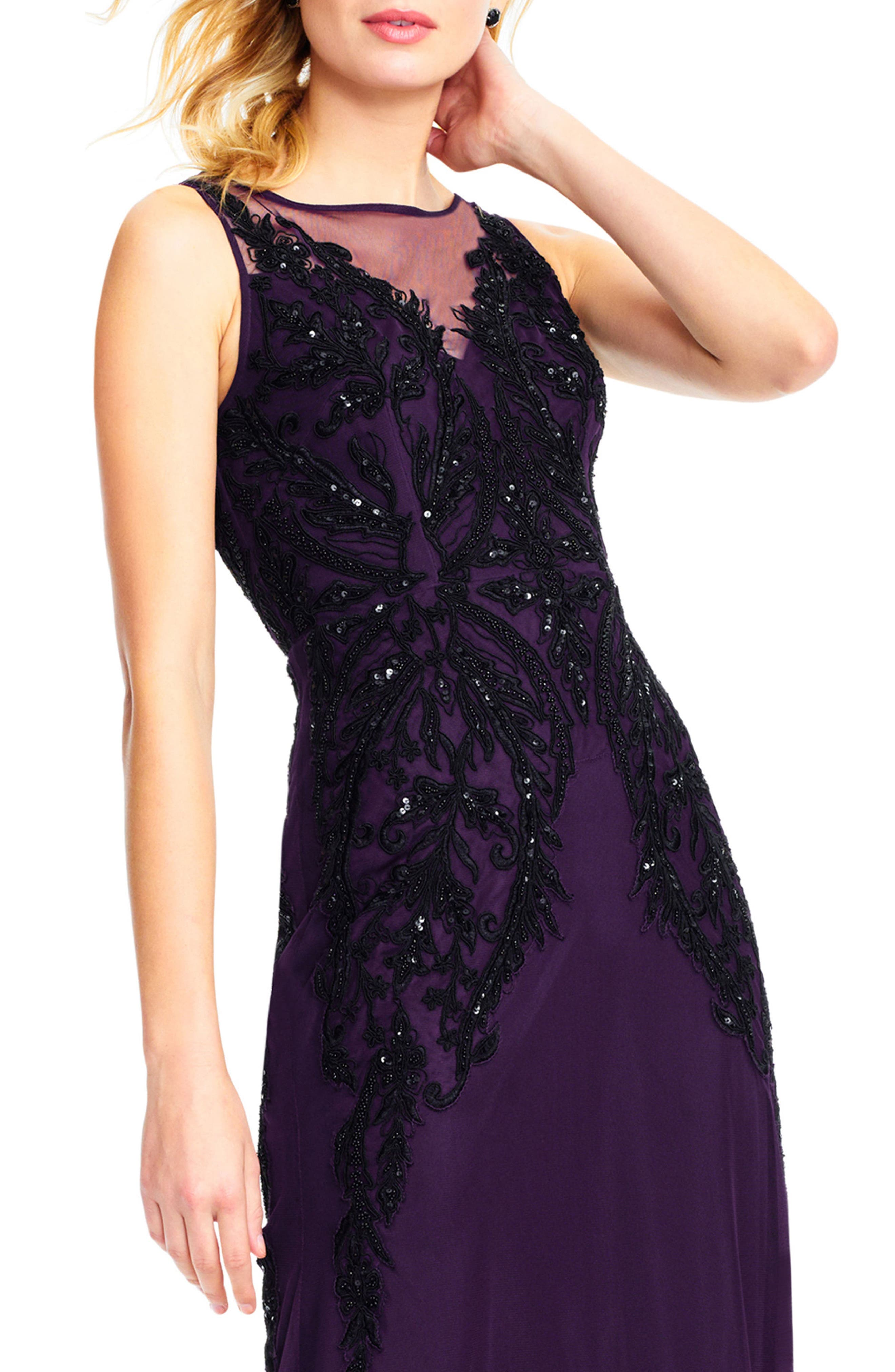 Beaded Illusion Sheath Gown,                             Alternate thumbnail 4, color,                             502