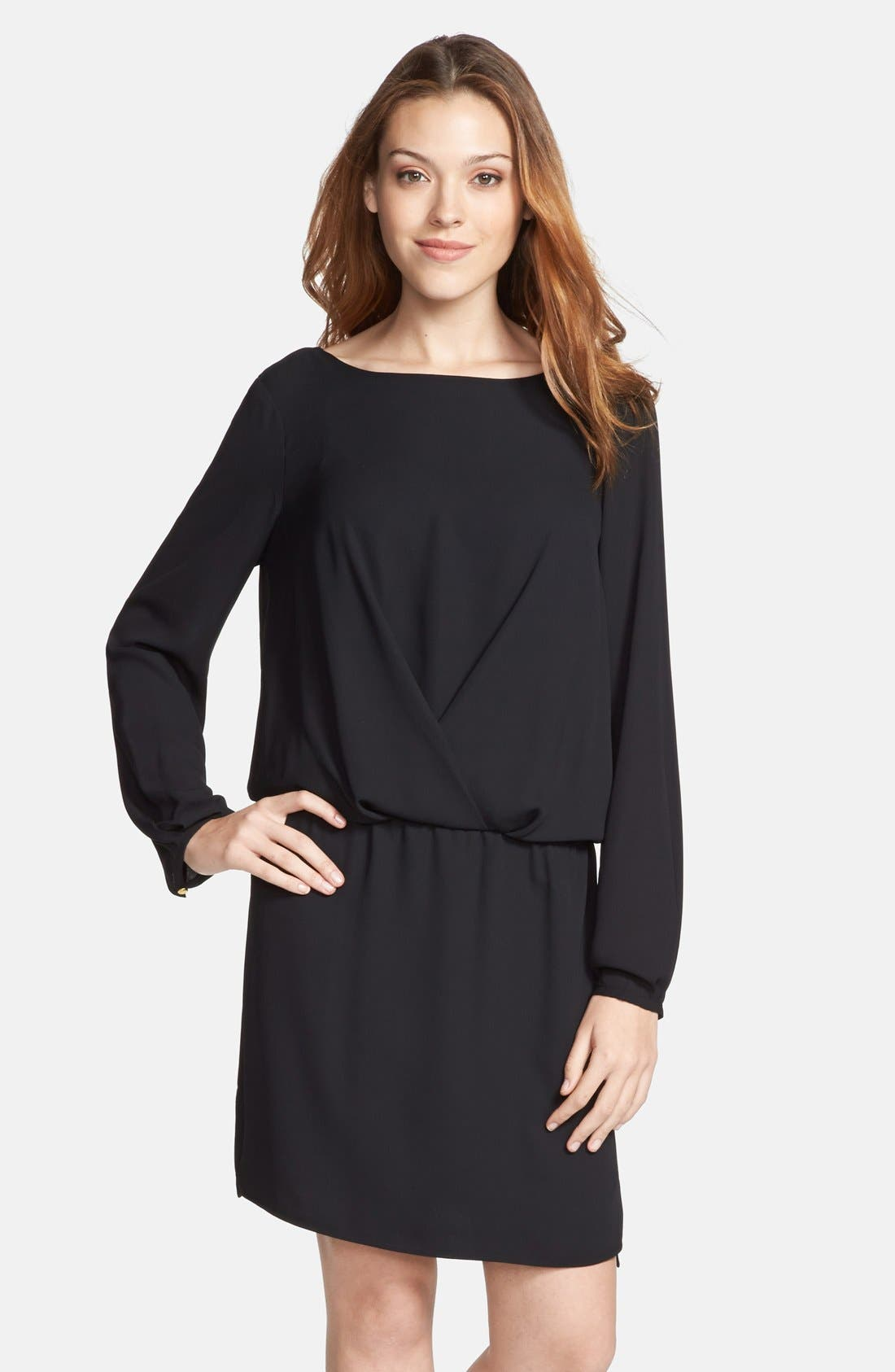 VINCE CAMUTO Front Fold Dress, Main, color, 001