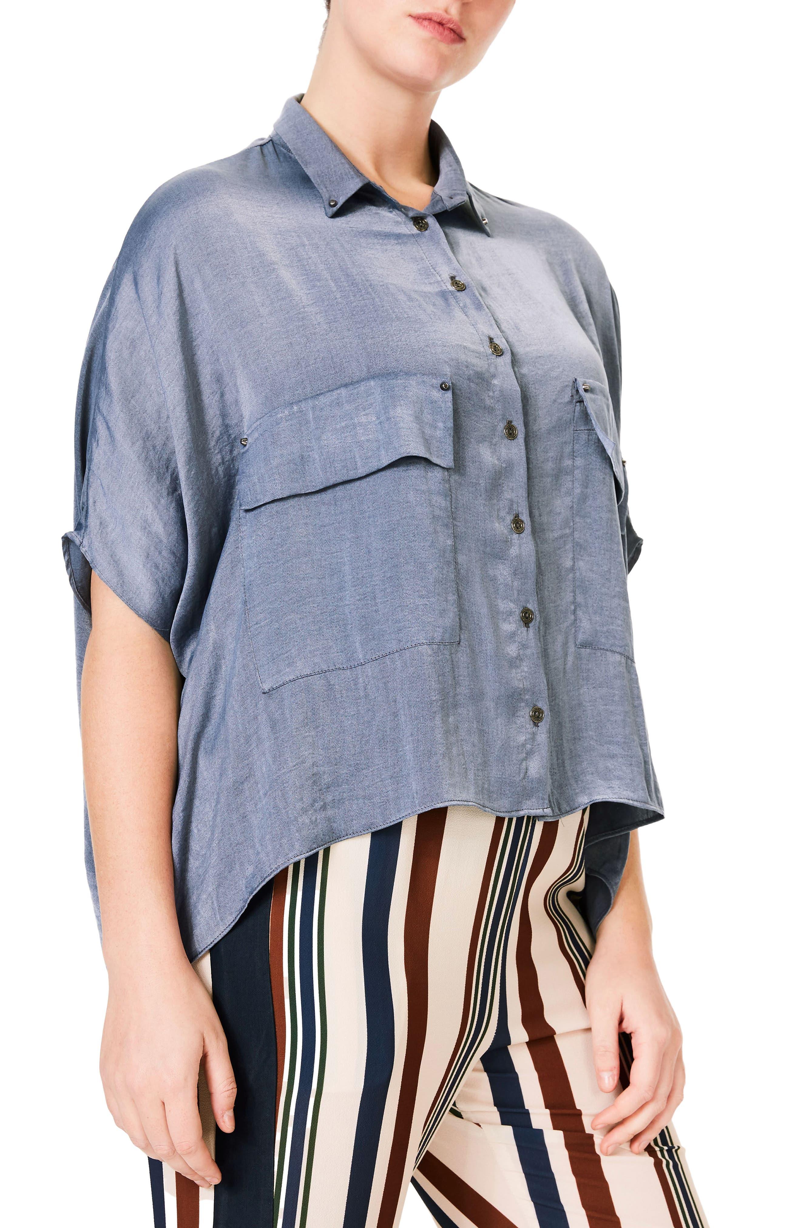 Studded Crop Chambray Shirt,                             Alternate thumbnail 3, color,                             400