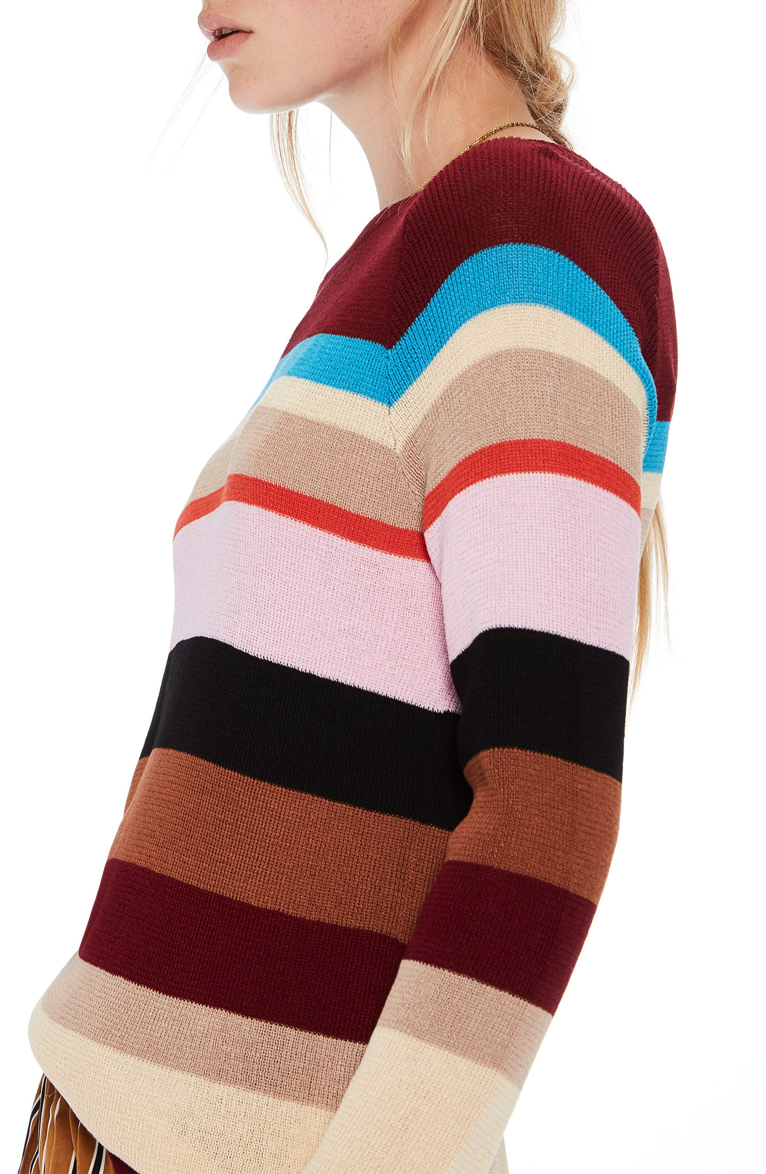 Colorful Stripe Sweater,                             Alternate thumbnail 3, color,                             601