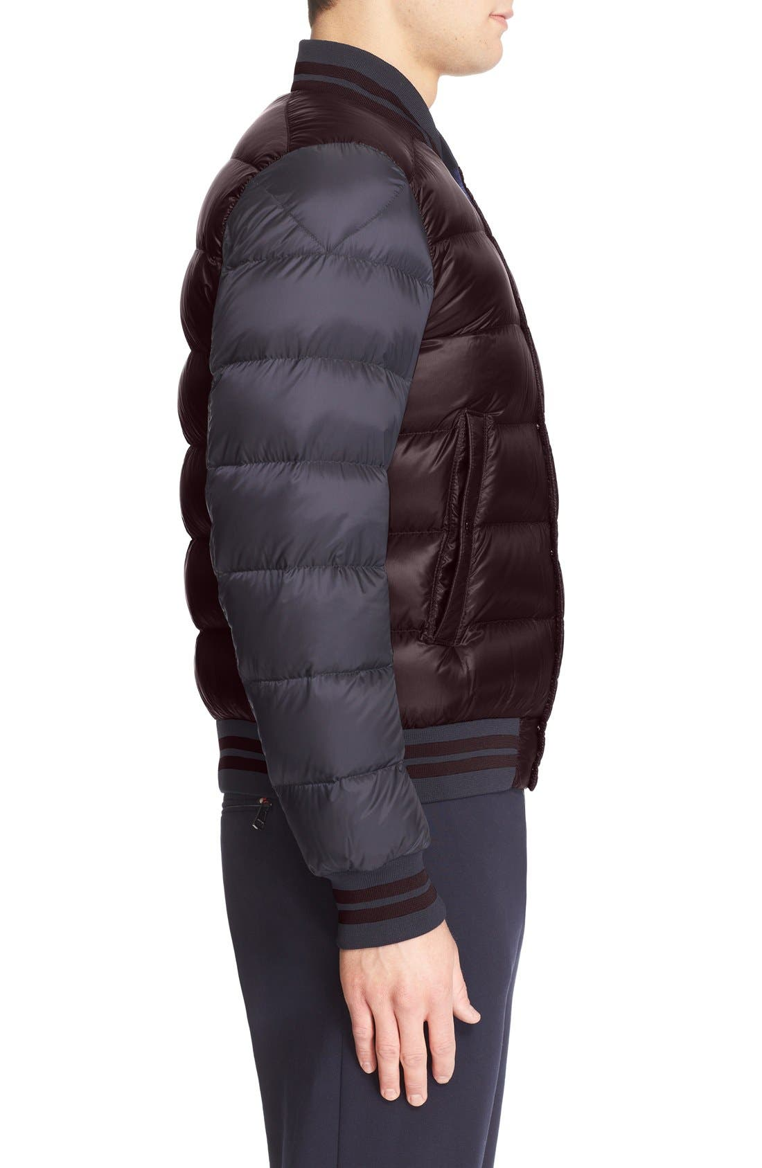 'Bardford' Channel Quilted Down Baseball Jacket,                             Alternate thumbnail 4, color,