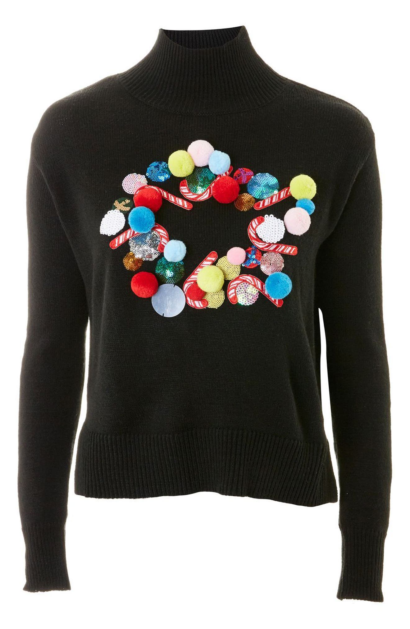Christmas Wreath Funnel Neck Sweater,                             Alternate thumbnail 4, color,                             001