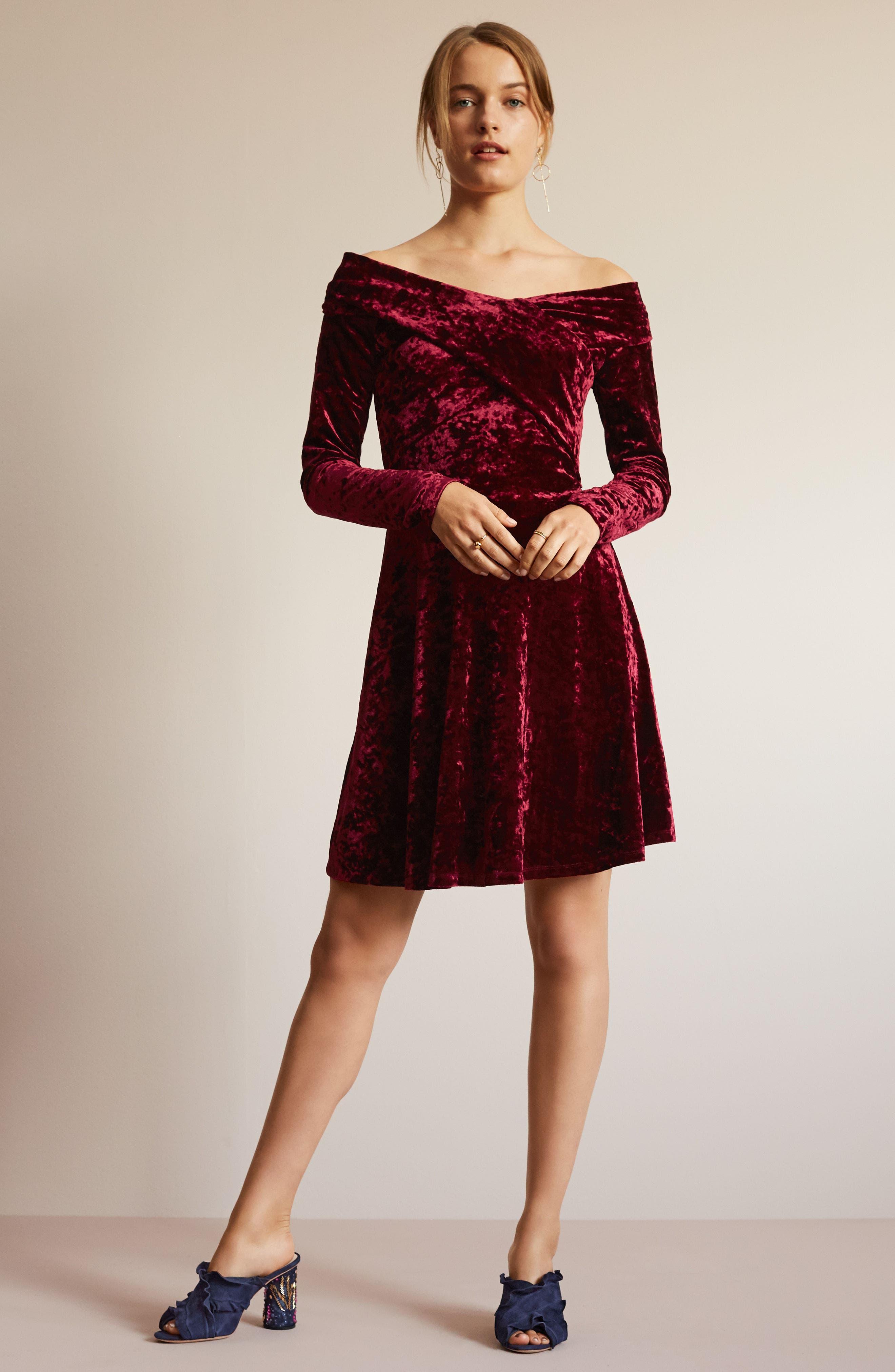 Off the Shoulder Velvet A-Line Dress,                             Alternate thumbnail 8, color,                             BLACK