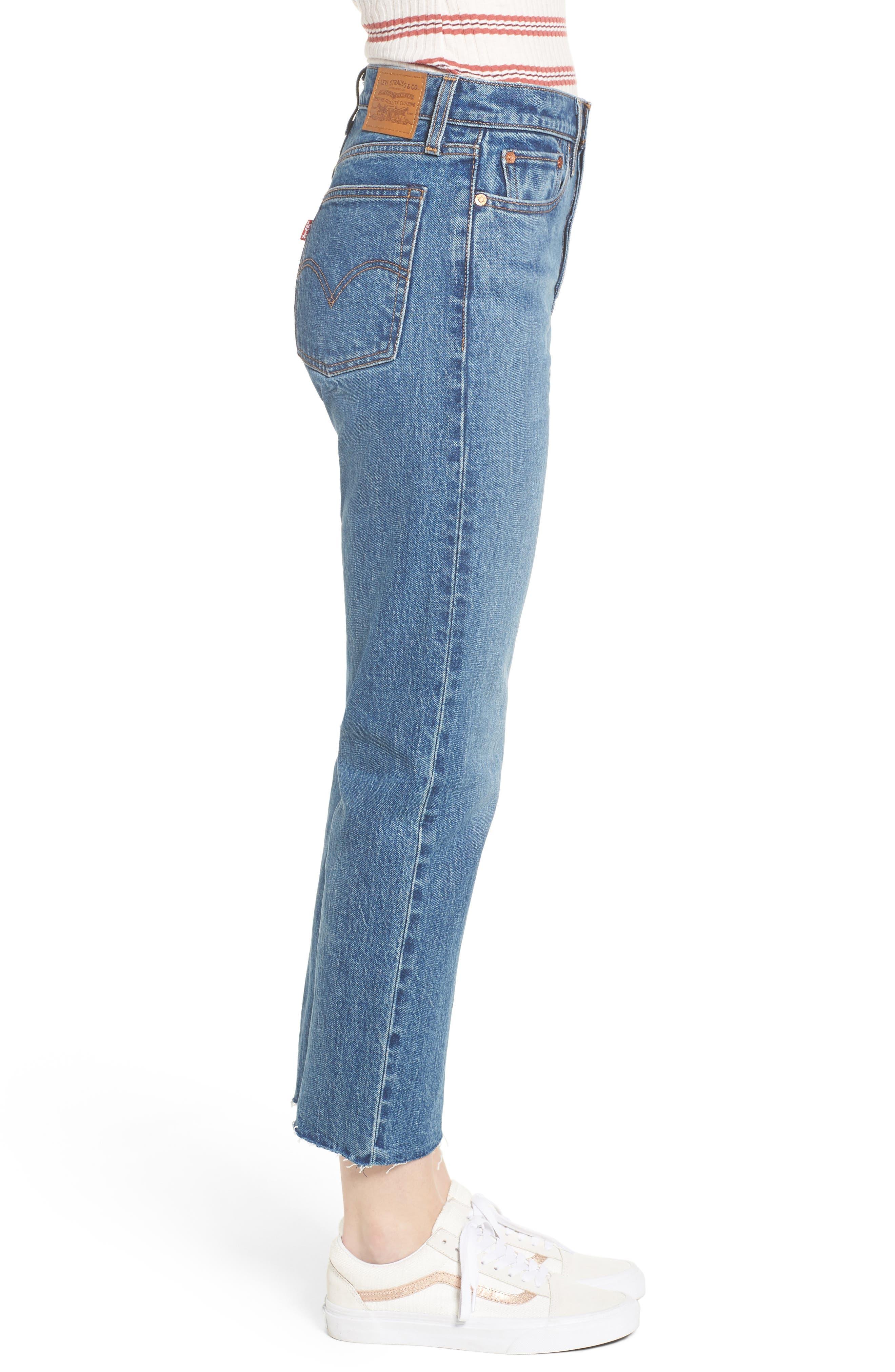 Wedgie Raw Hem High Waist Straight Leg Jeans,                             Alternate thumbnail 3, color,                             LOVE TRIANGLE
