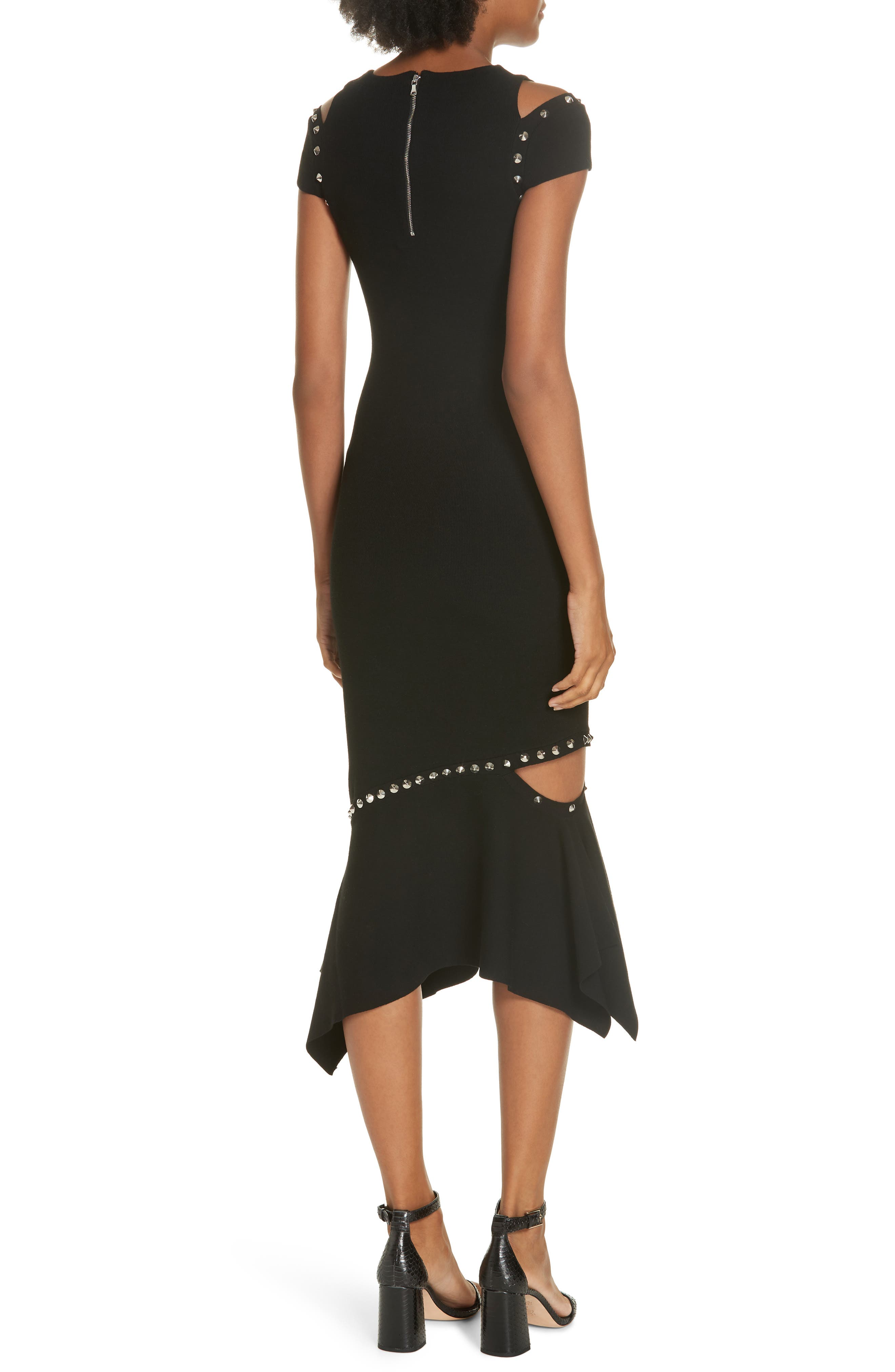 Ameera Studded Midi Dress,                             Alternate thumbnail 2, color,                             BLACK