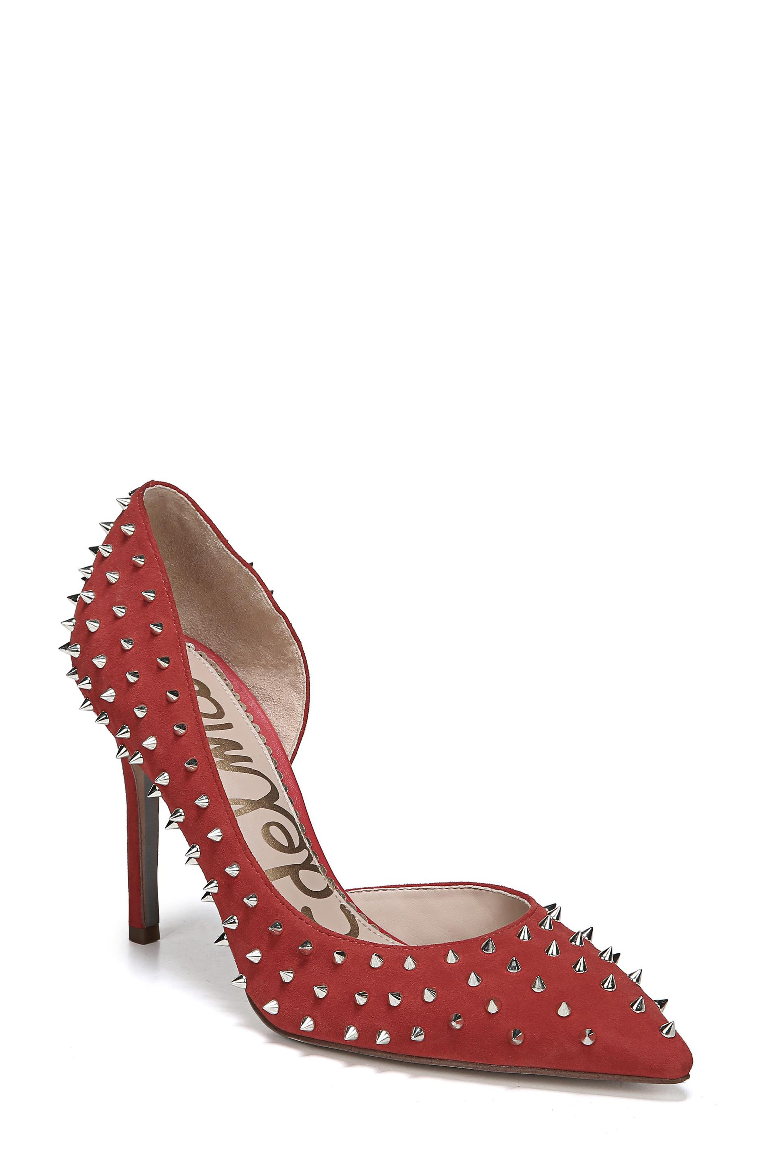 Hadlee d'Orsay Pump,                             Main thumbnail 1, color,                             RED SUEDE