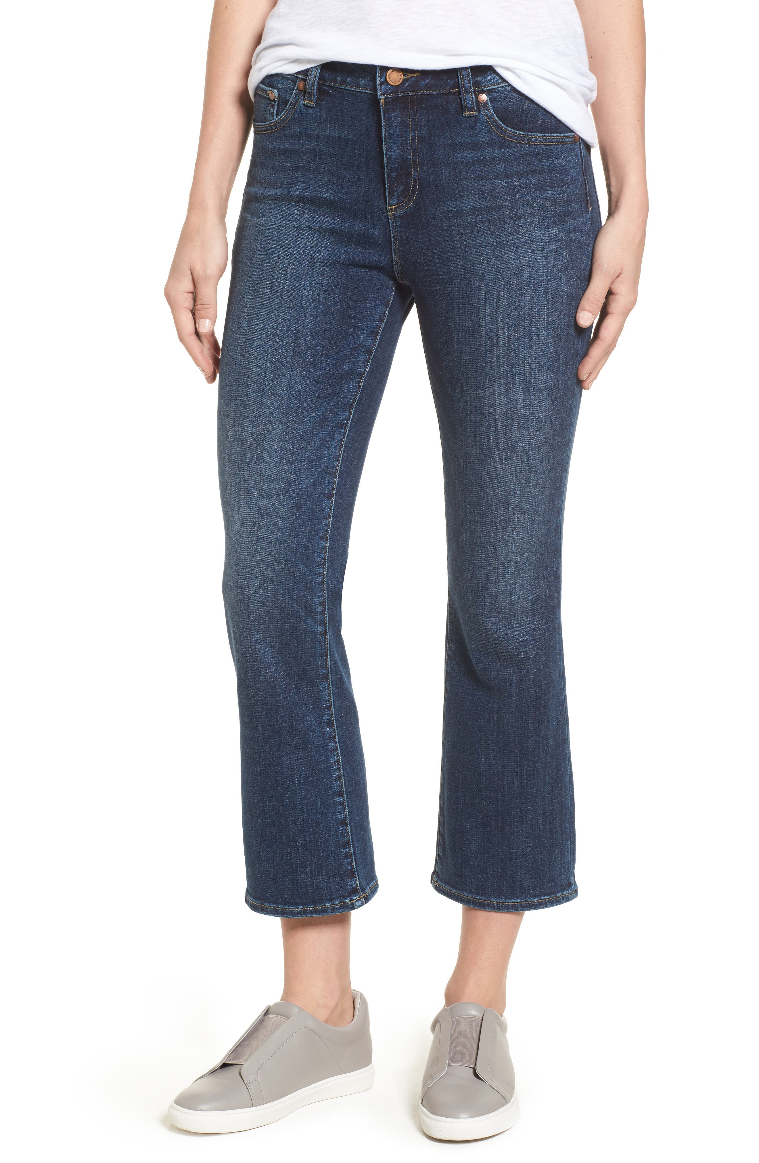 Two by Vince Camuto Cropped Flare Jeans,                             Main thumbnail 1, color,                             MID VINTAGE