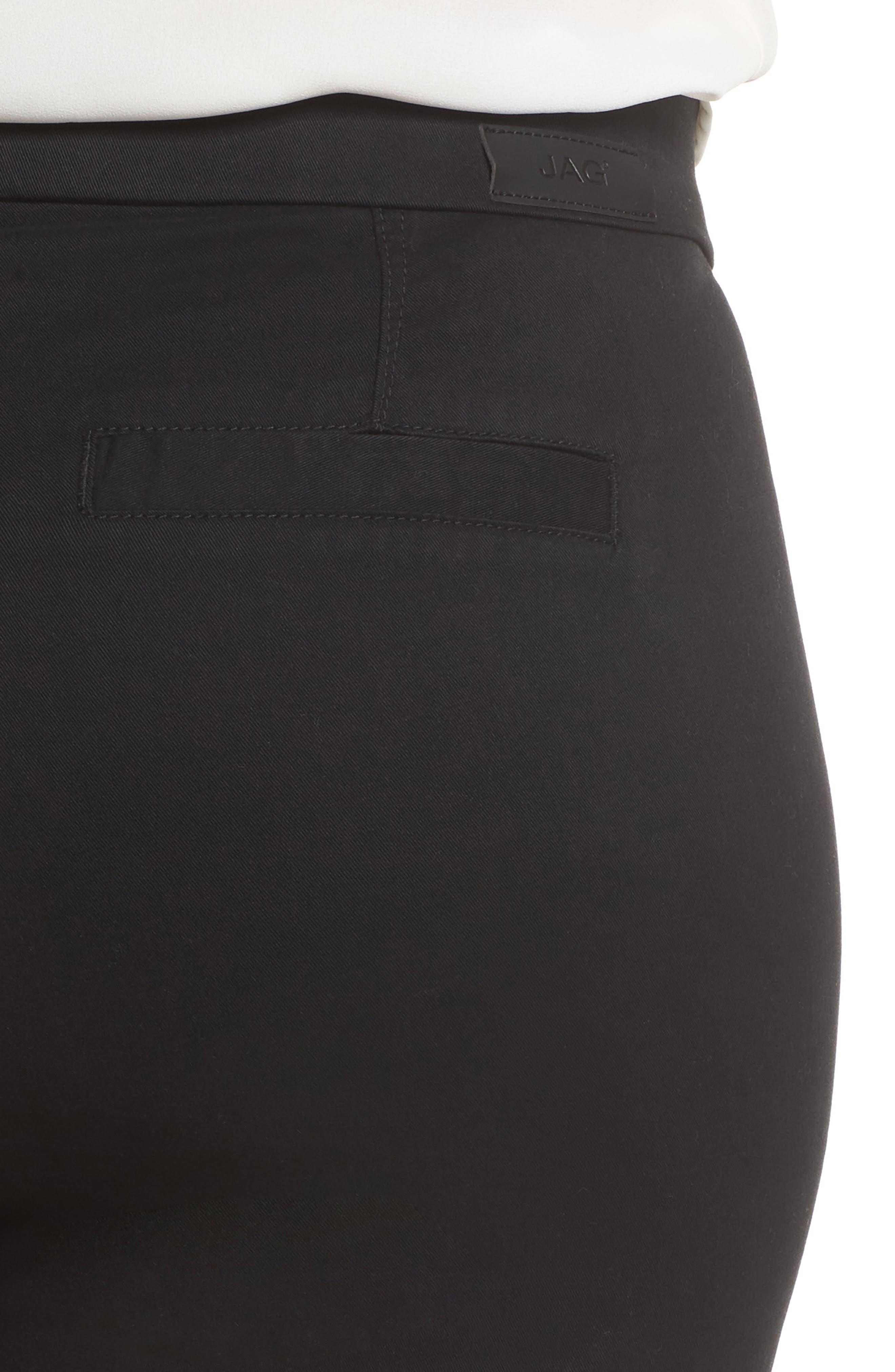 Gracie Stretch Cotton Shorts,                             Alternate thumbnail 4, color,                             BLACK