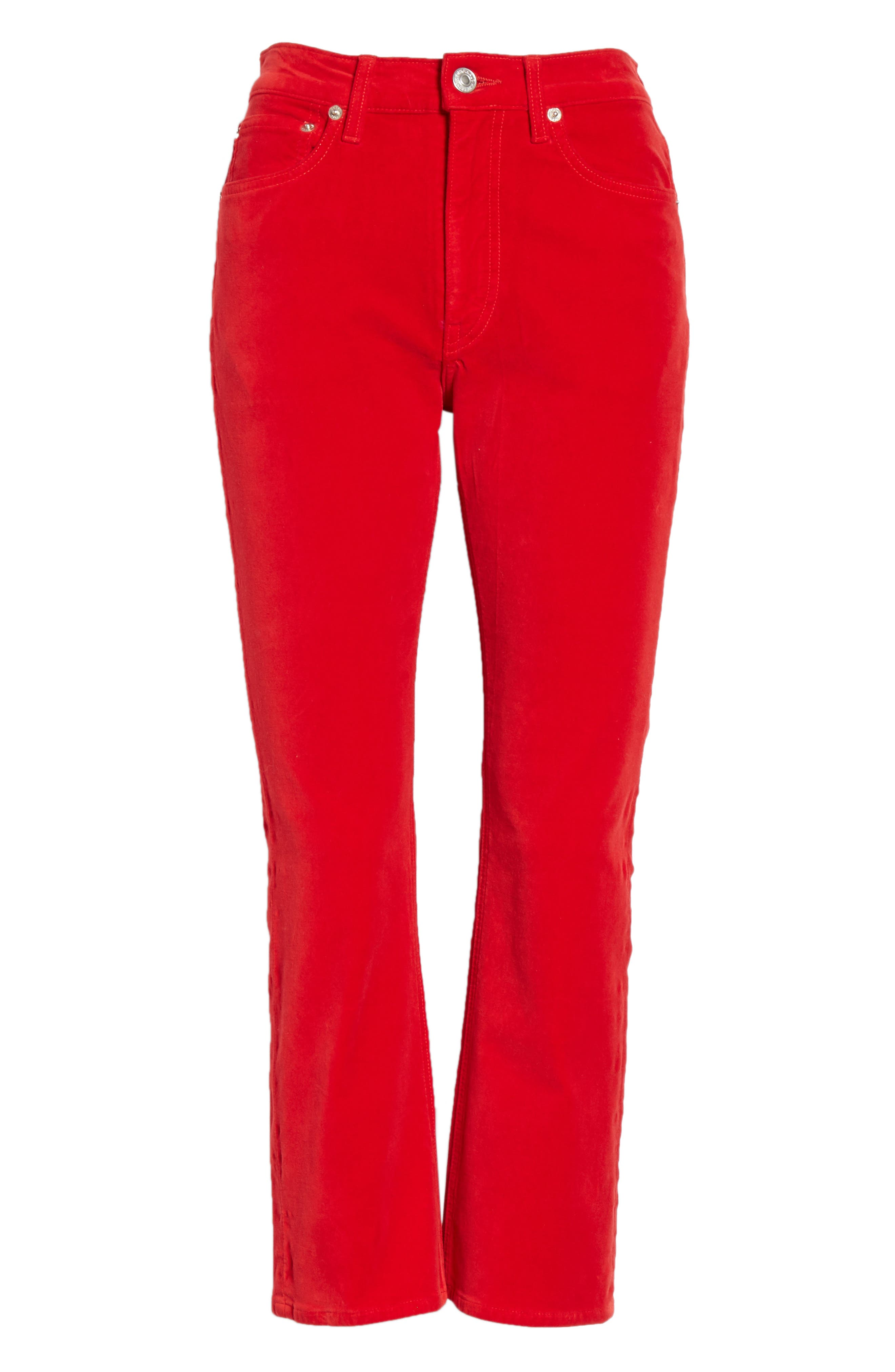 Velvet Crop Kick Flare Jeans,                             Alternate thumbnail 6, color,                             RED