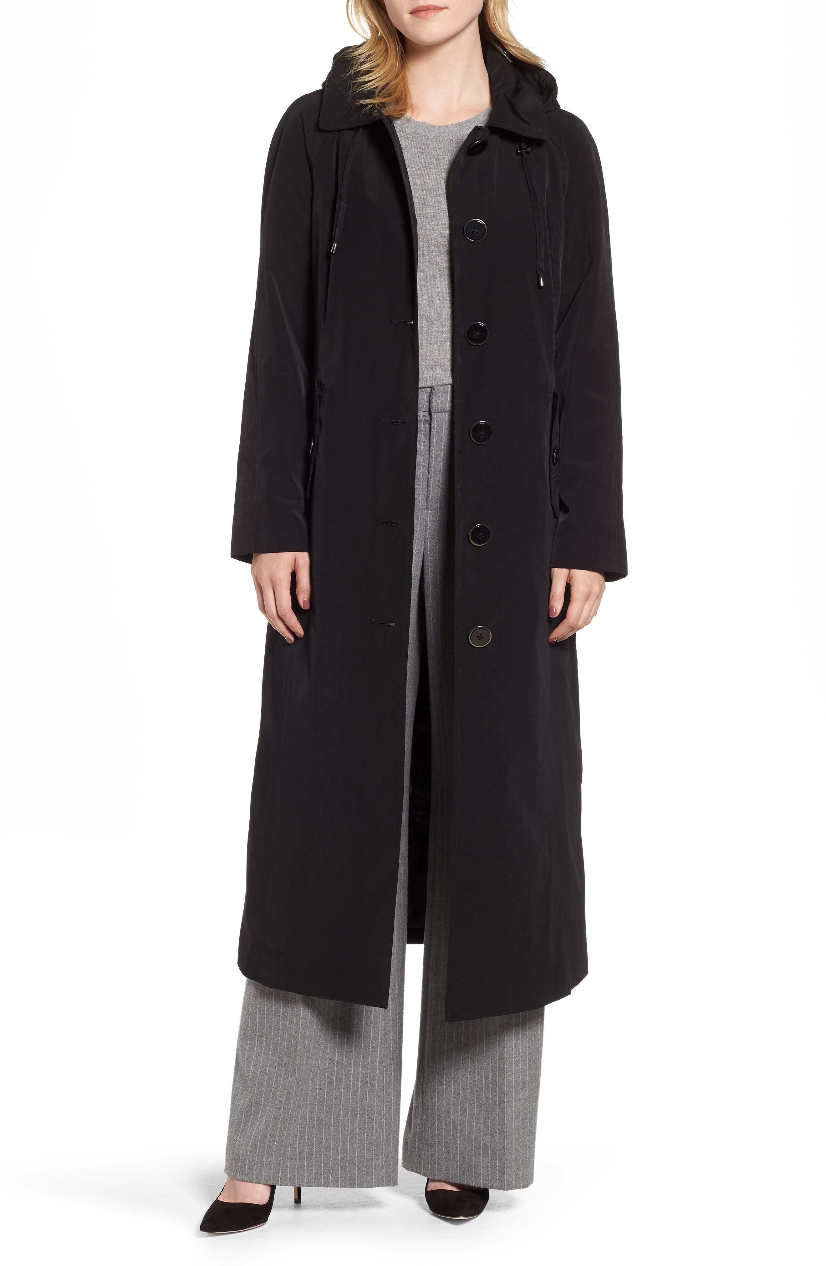 Long Trench Coat with Detachable Hood & Liner,                             Alternate thumbnail 4, color,                             BLACK