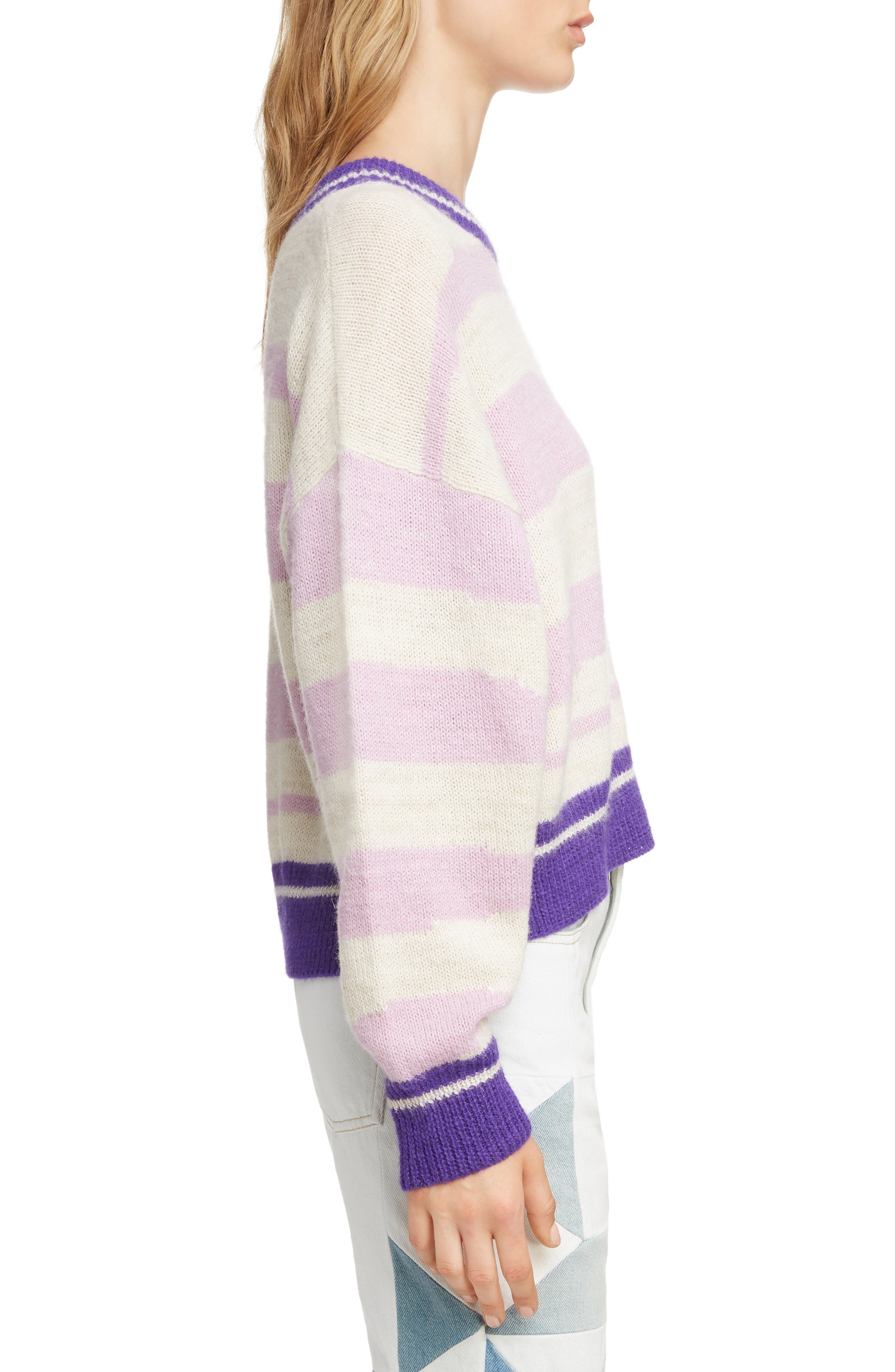 Glowy Stripe Sweater,                             Alternate thumbnail 3, color,                             LILAC