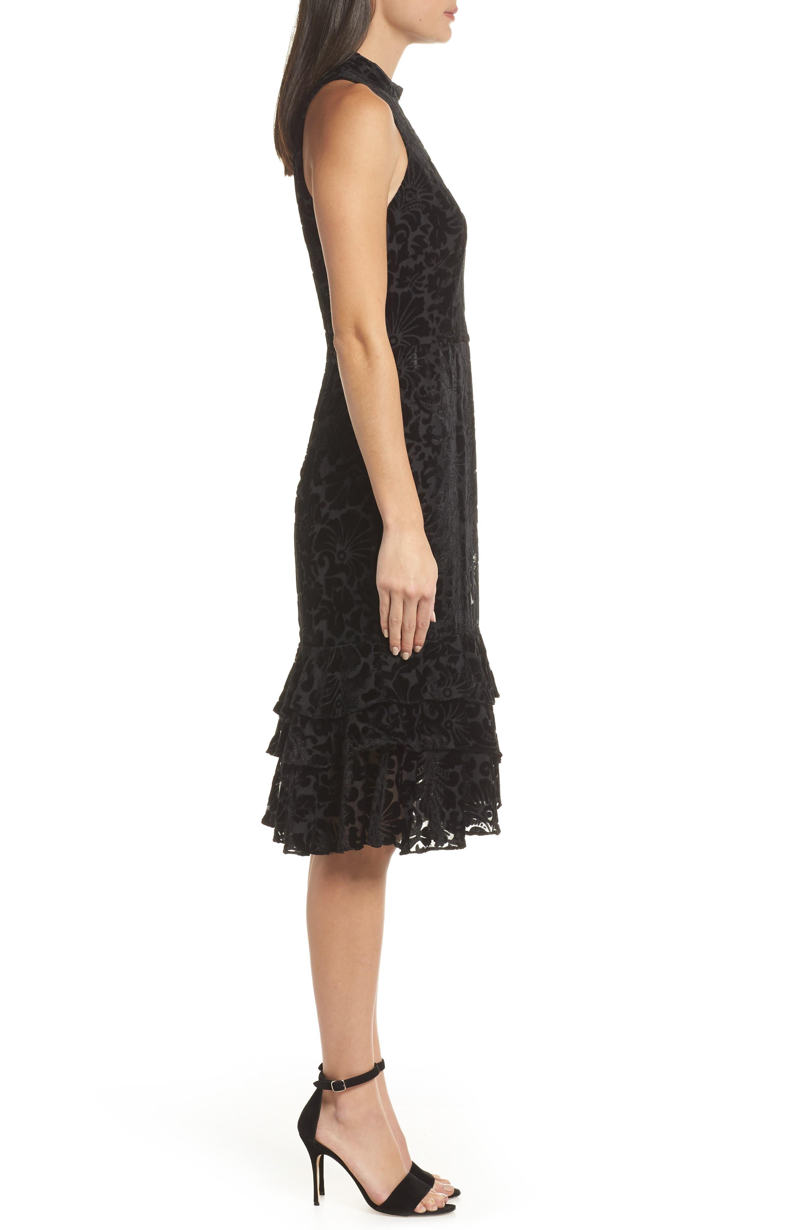 Burnout Velvet Sheath Dress,                             Alternate thumbnail 3, color,                             BLACK