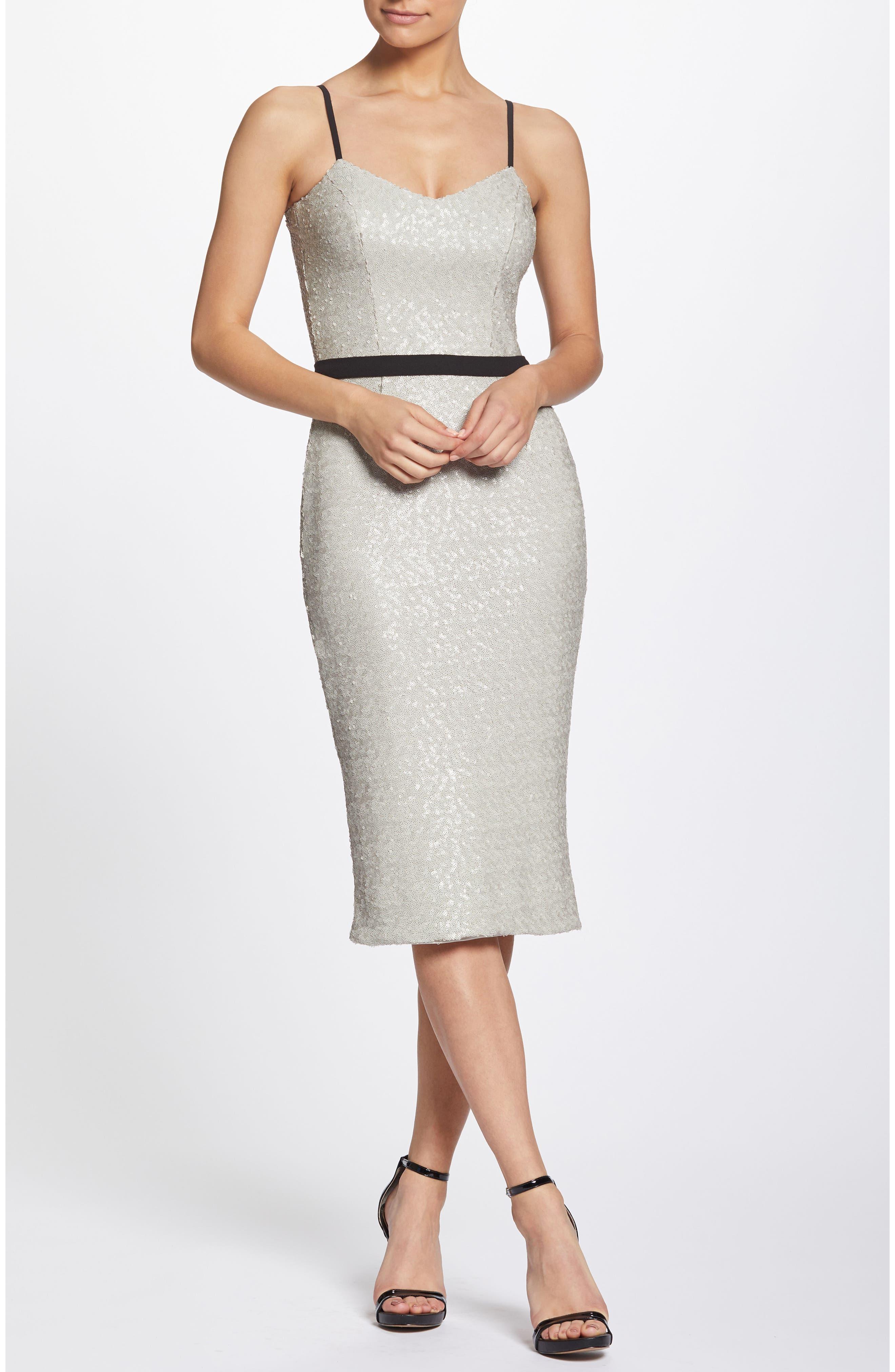 Emma Sequin Body-Con Dress,                             Alternate thumbnail 6, color,                             BONE