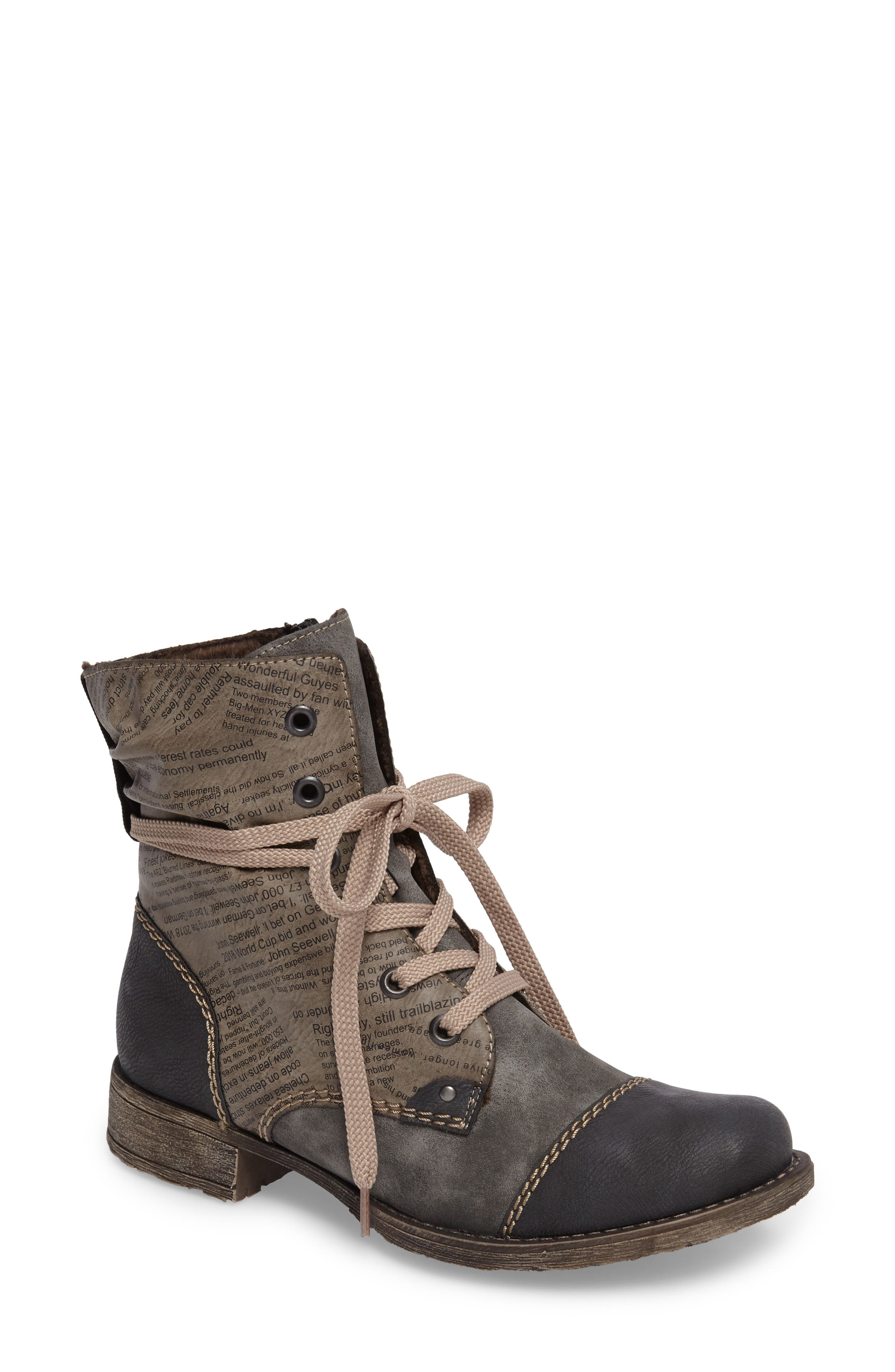 Payton 22 Lace-Up Boot,                             Main thumbnail 1, color,                             SMOKE FAUX LEATHER