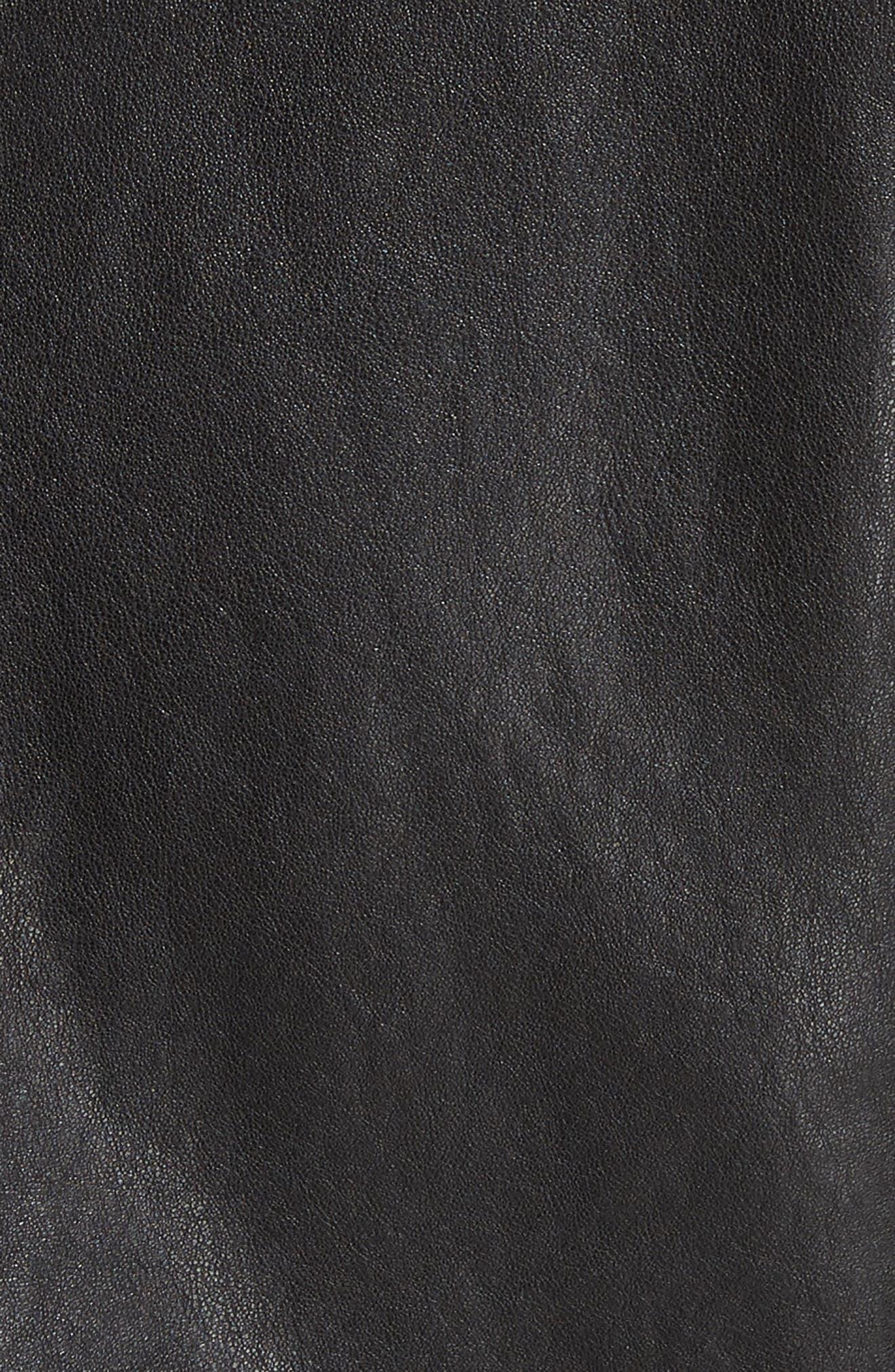 Slim Fit Leather Jacket,                             Alternate thumbnail 6, color,                             001