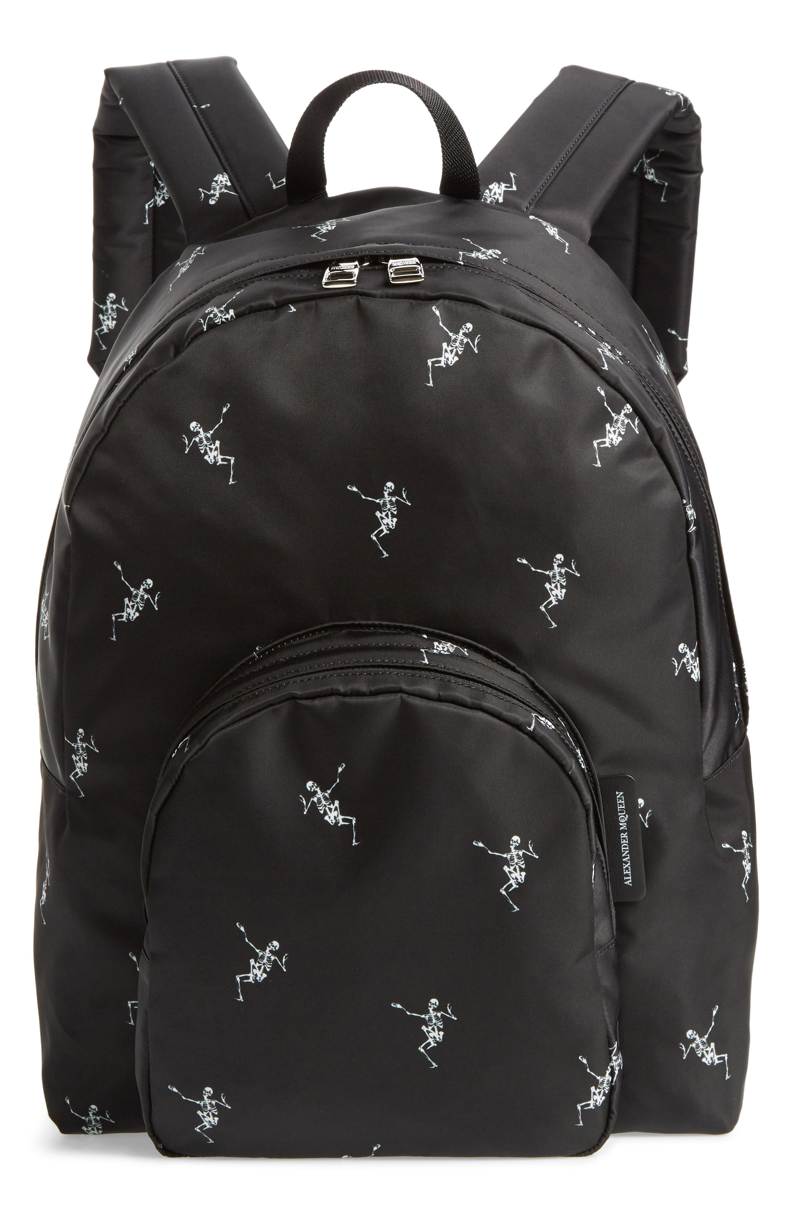 Dancing Skeleton Backpack,                             Main thumbnail 1, color,                             BLACK/ OFF WHITE