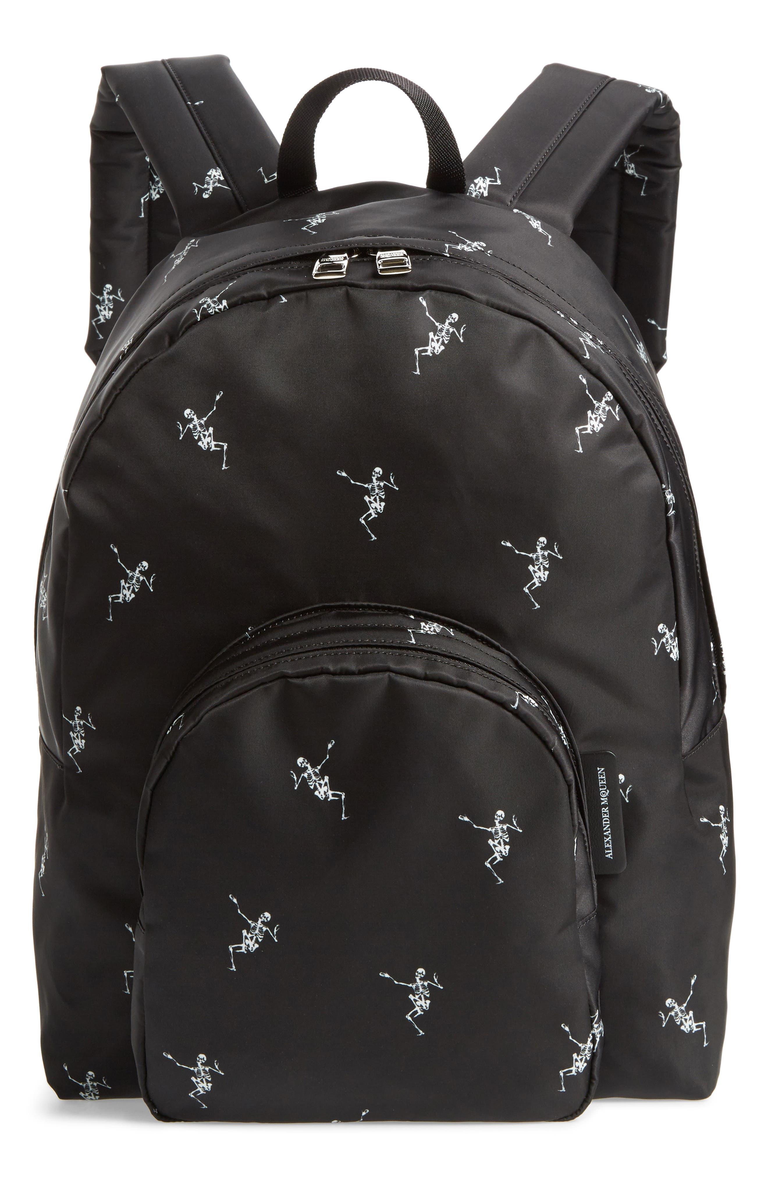 Dancing Skeleton Backpack,                         Main,                         color, BLACK/ OFF WHITE