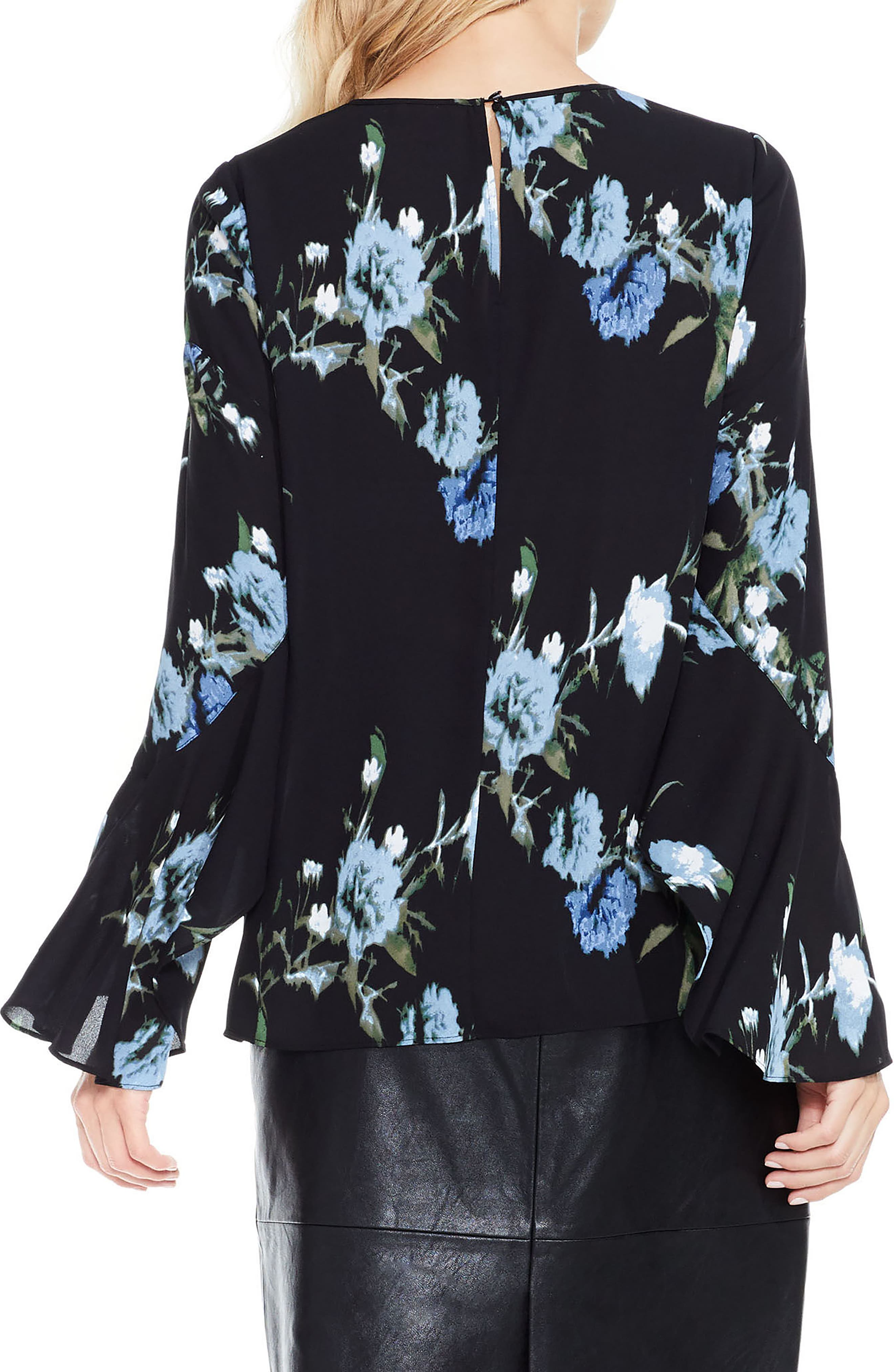 Windswept Bouquet Bell Sleeve Blouse,                             Alternate thumbnail 2, color,                             474