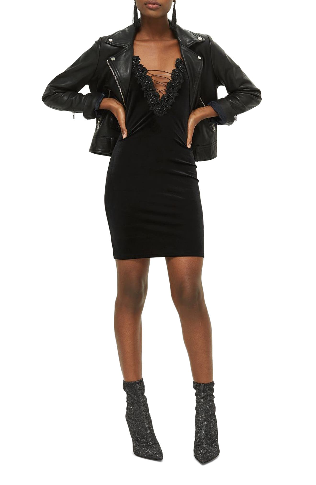 Lace-Up Velvet Body-Con Dress,                             Main thumbnail 1, color,
