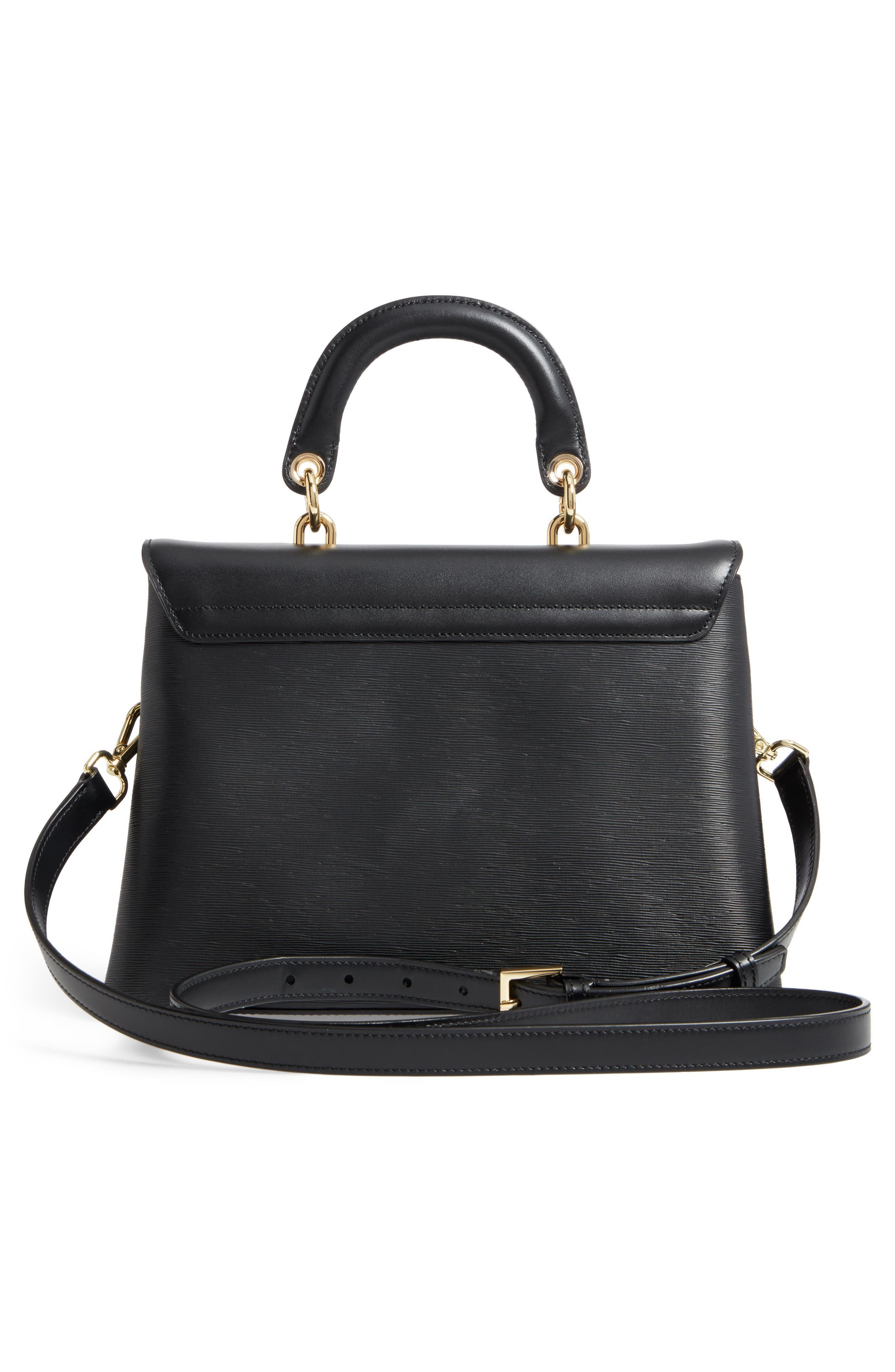 Lauree Looped Bow Leather Satchel,                             Alternate thumbnail 3, color,                             001