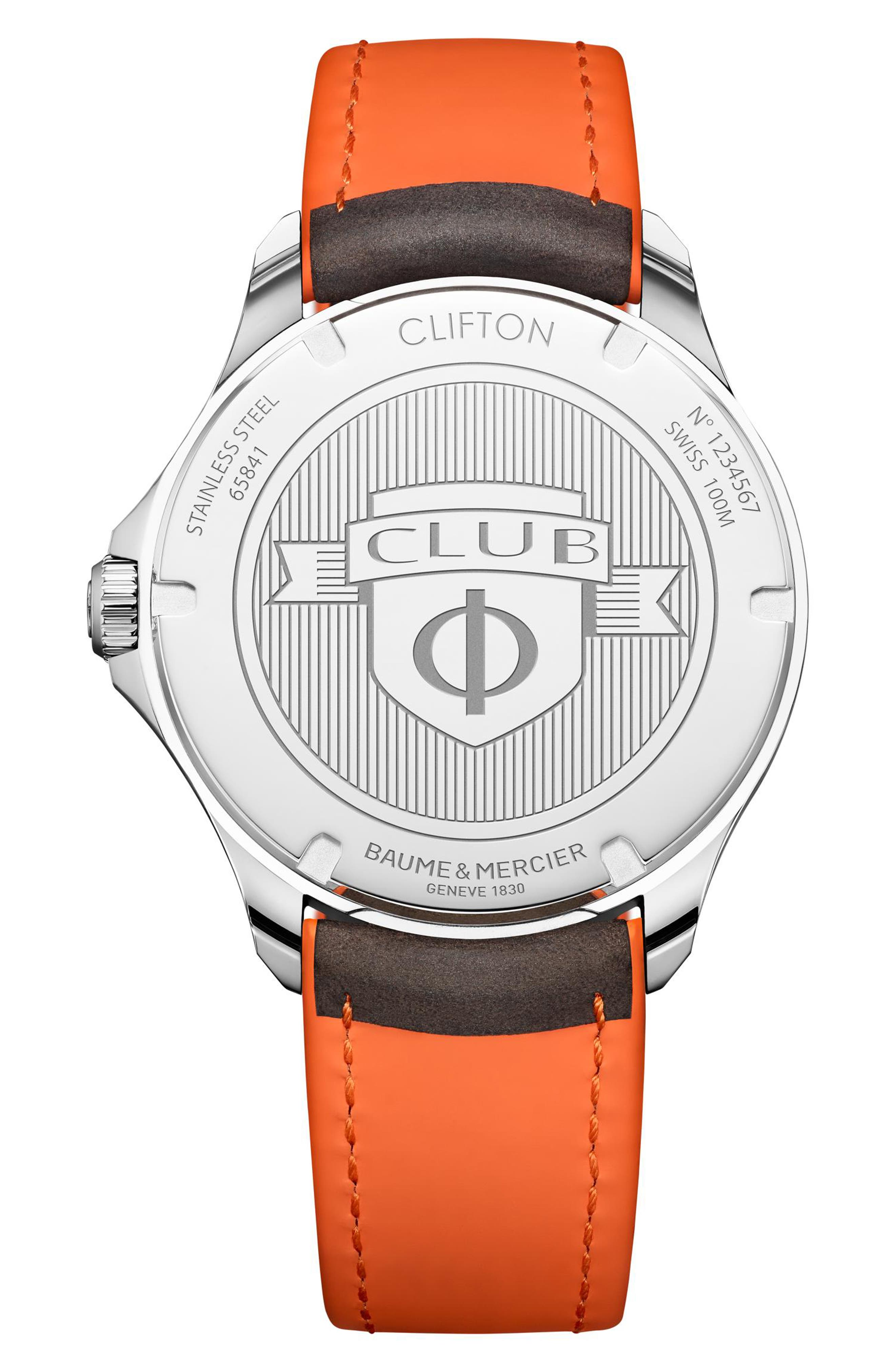Clifton Leather Strap Watch, 42mm,                             Alternate thumbnail 2, color,                             WHITE/BLACK