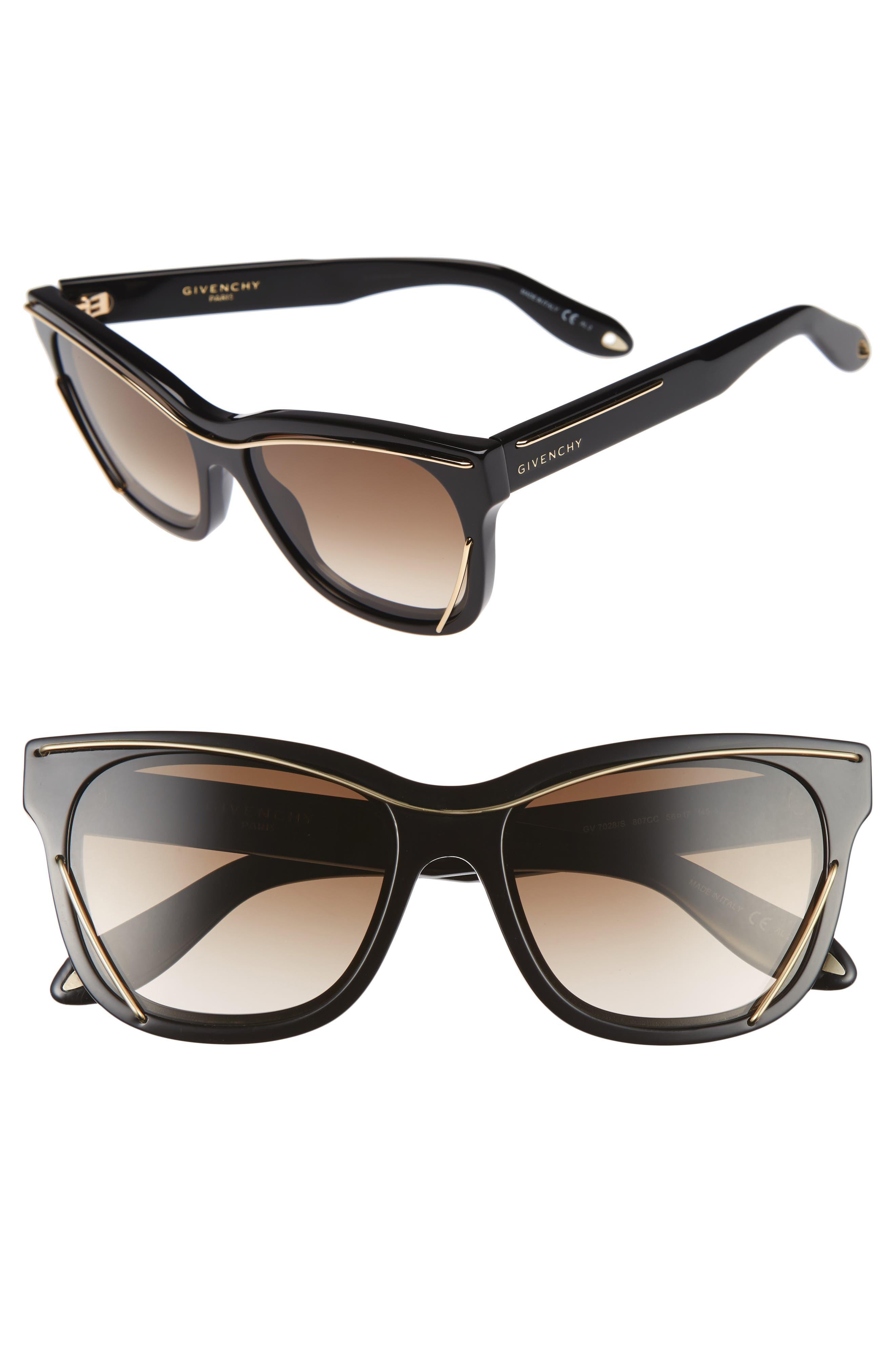 56mm Cat Eye Sunglasses,                             Main thumbnail 1, color,                             002