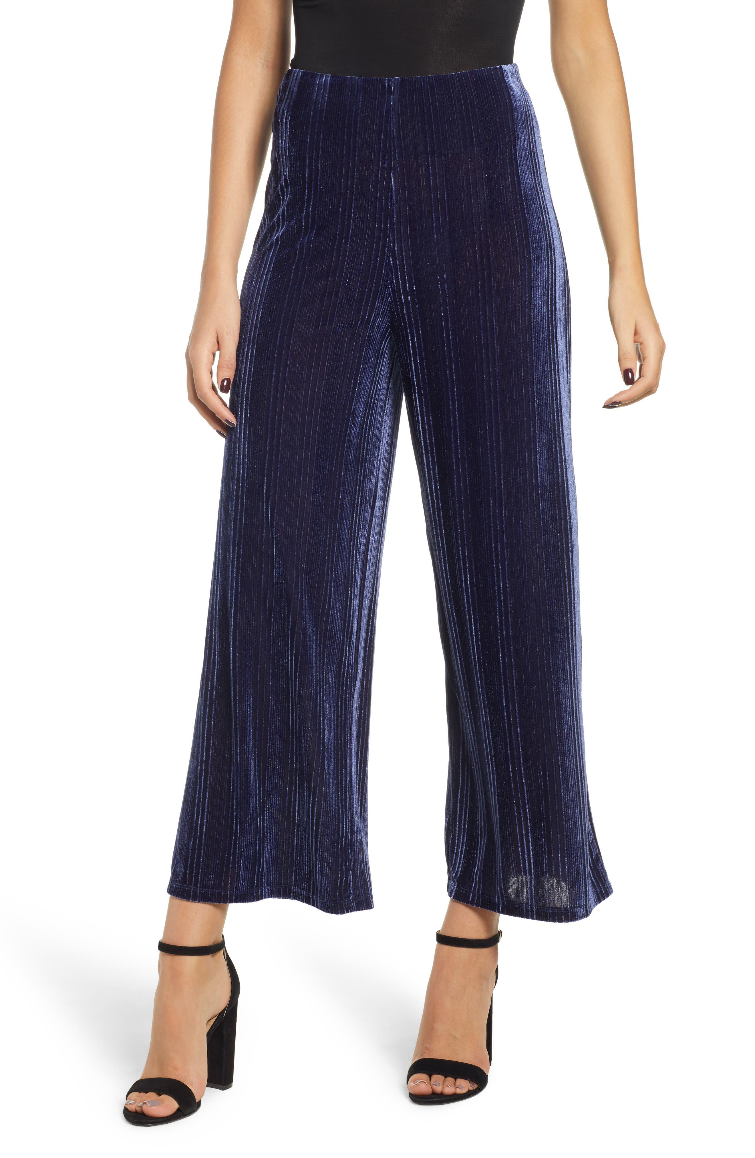 Velour Wide Leg Crop Pants,                         Main,                         color, NAVY MARITIME