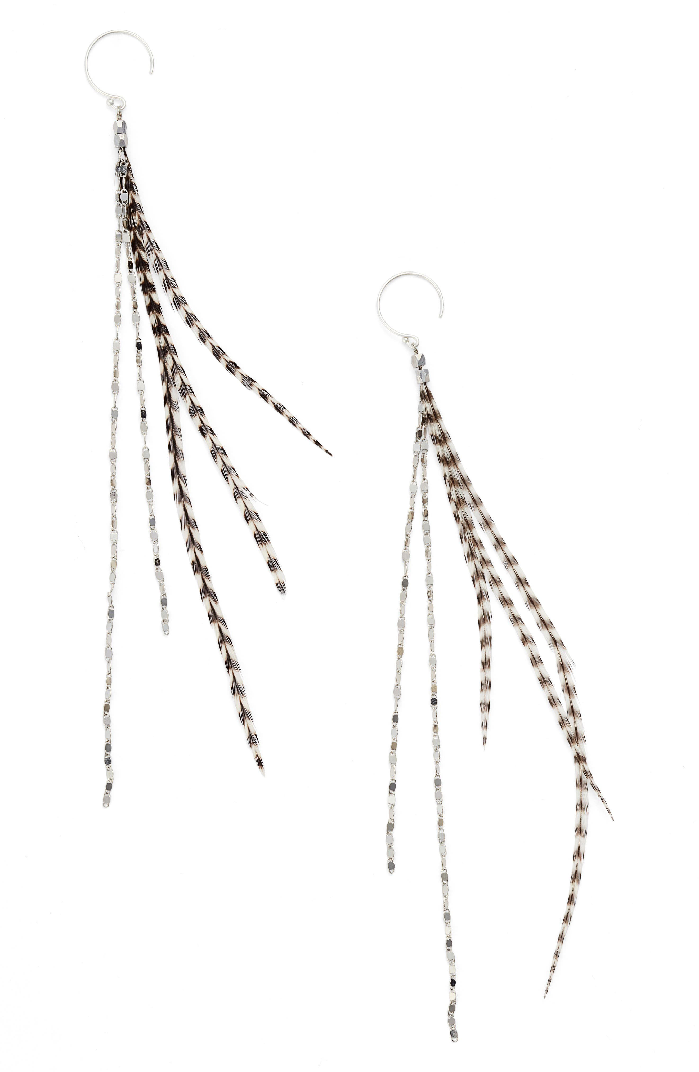 Glistening Feather Duster Earrings,                             Main thumbnail 1, color,                             SILVER/ STRIPE