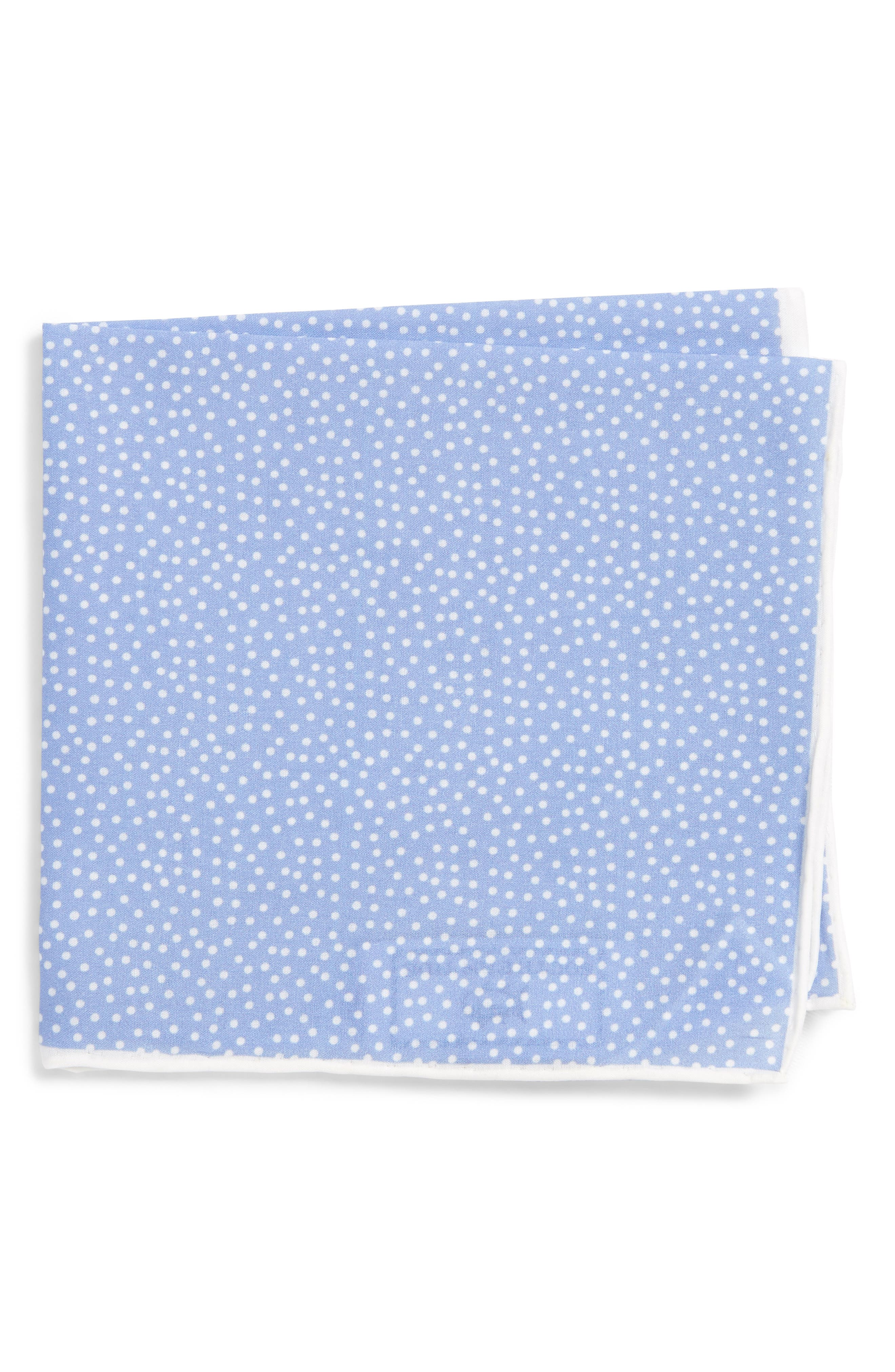 SOUTHERN TIDE,                             Sagamore Spots Cotton & Silk Pocket Square,                             Main thumbnail 1, color,                             BLUE