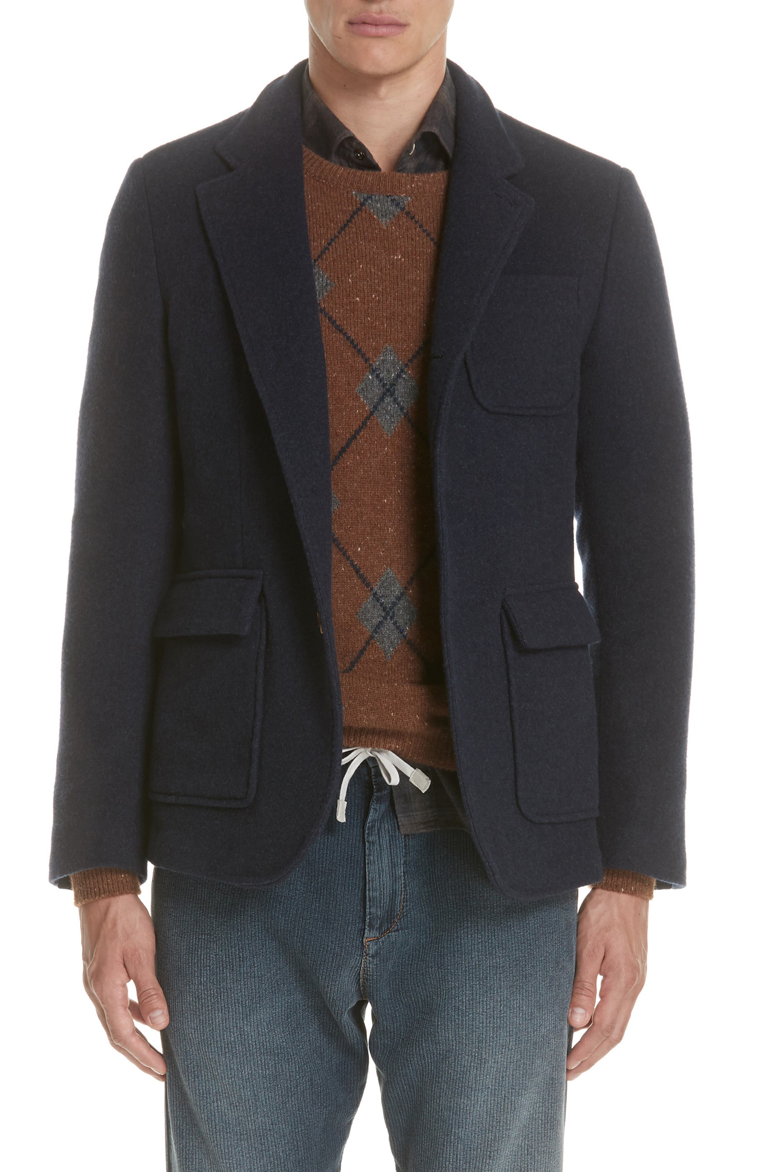 Wool & Cashmere Coat,                         Main,                         color, NAVY