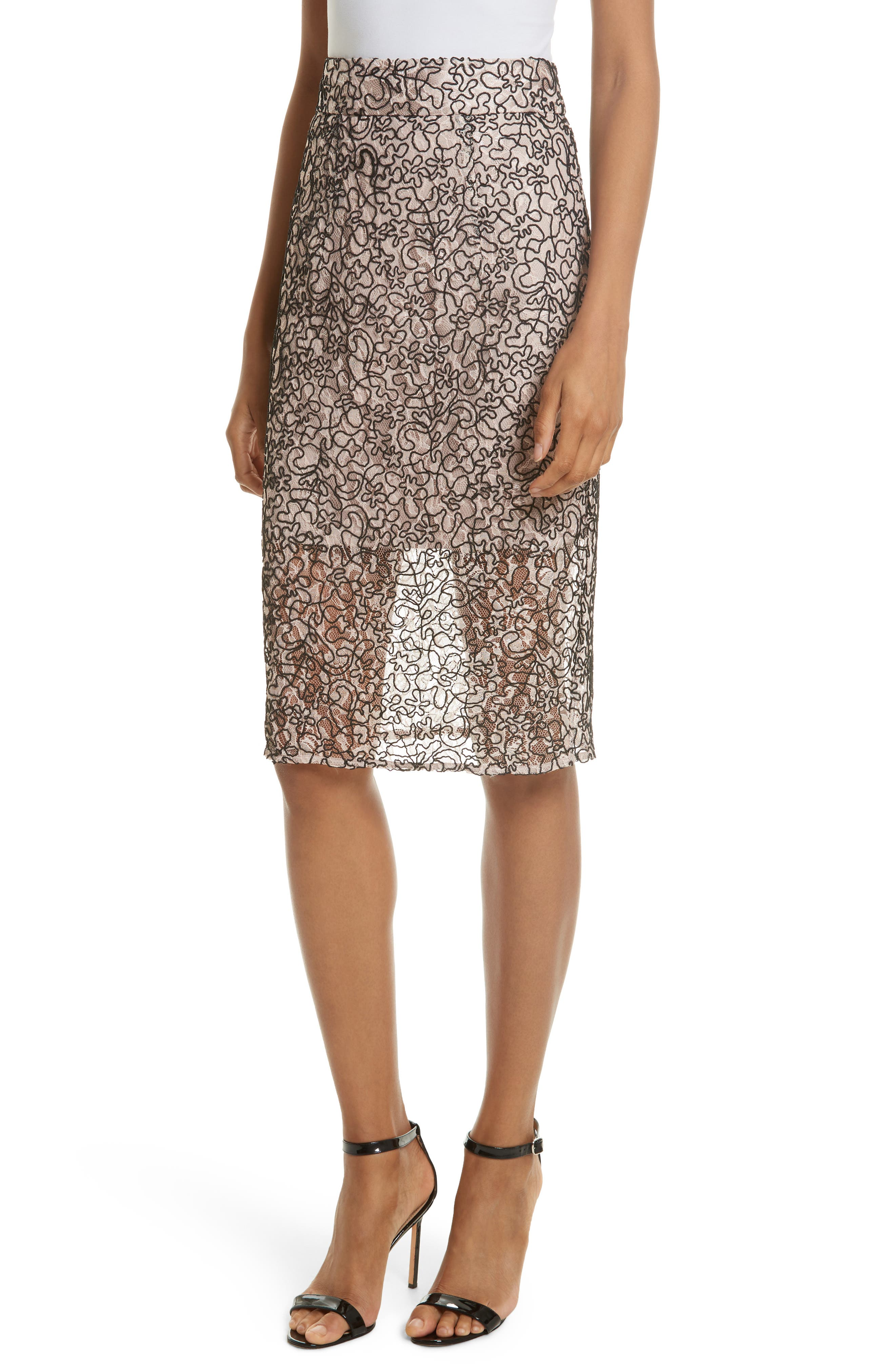 Corded Lace Pencil Skirt,                             Main thumbnail 1, color,                             653