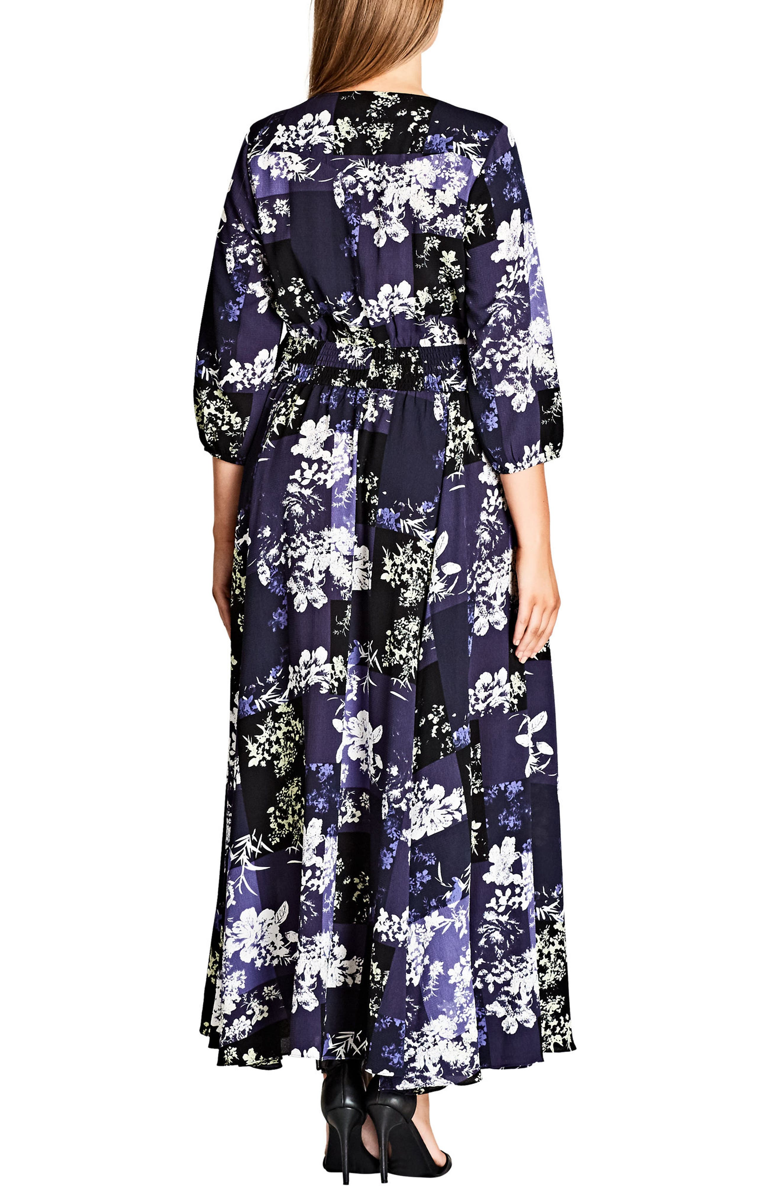 Kiku Print Maxi Dress,                             Alternate thumbnail 2, color,                             BLUE INDIGO