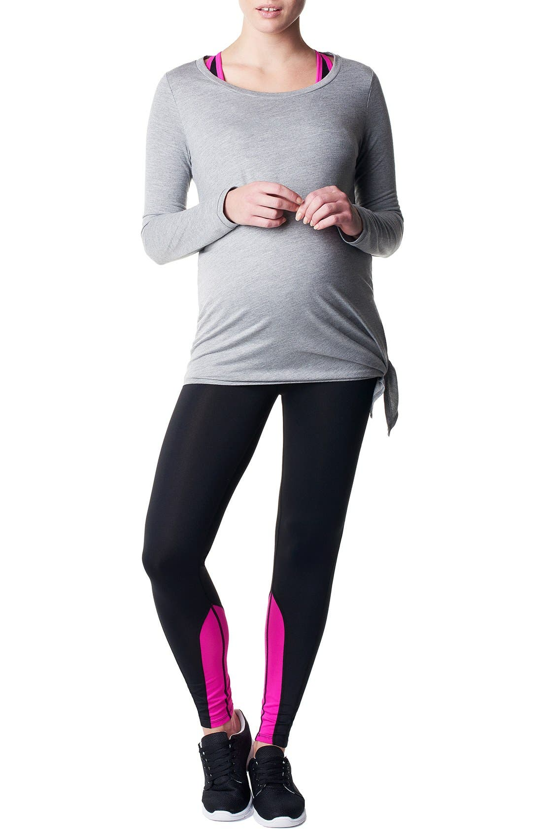 'Heather' Athletic Long Sleeve Maternity Top,                             Main thumbnail 1, color,                             GREY MELANGE
