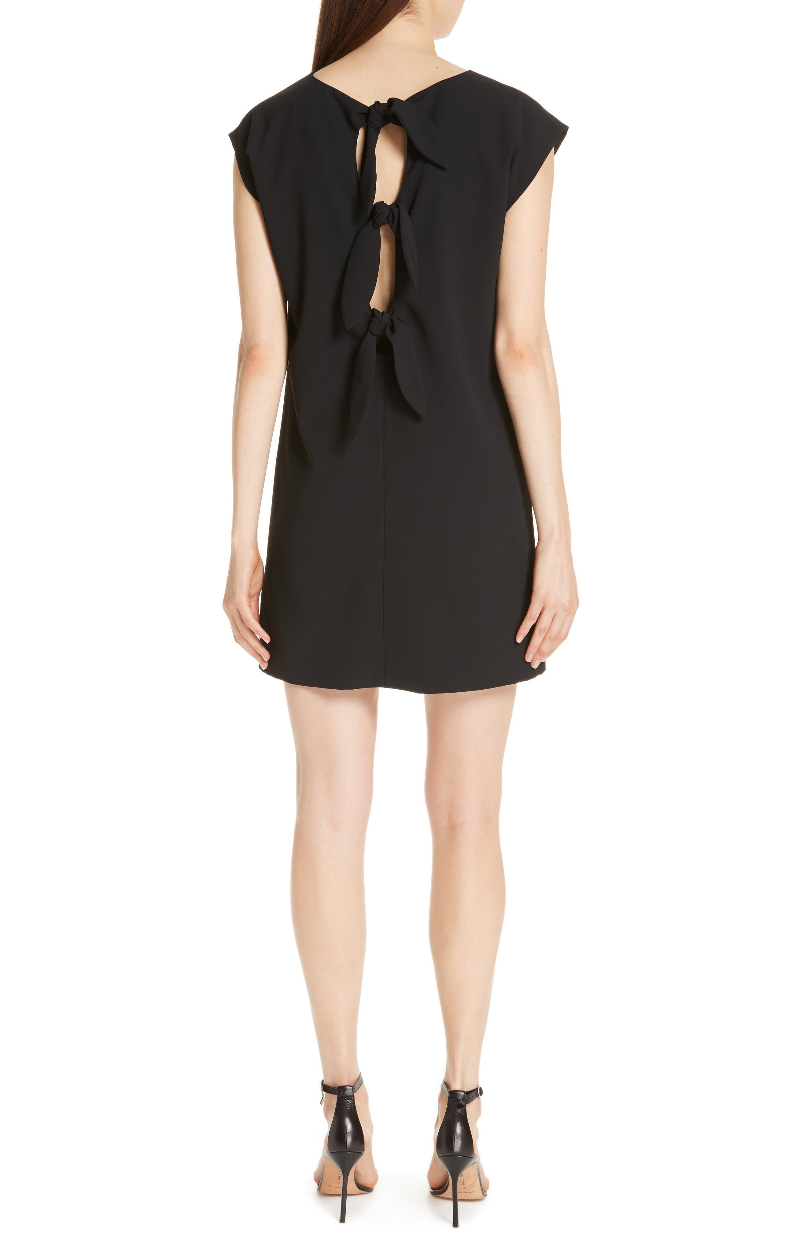 Carita Back Tie Shift Dress,                             Alternate thumbnail 2, color,                             BLACK